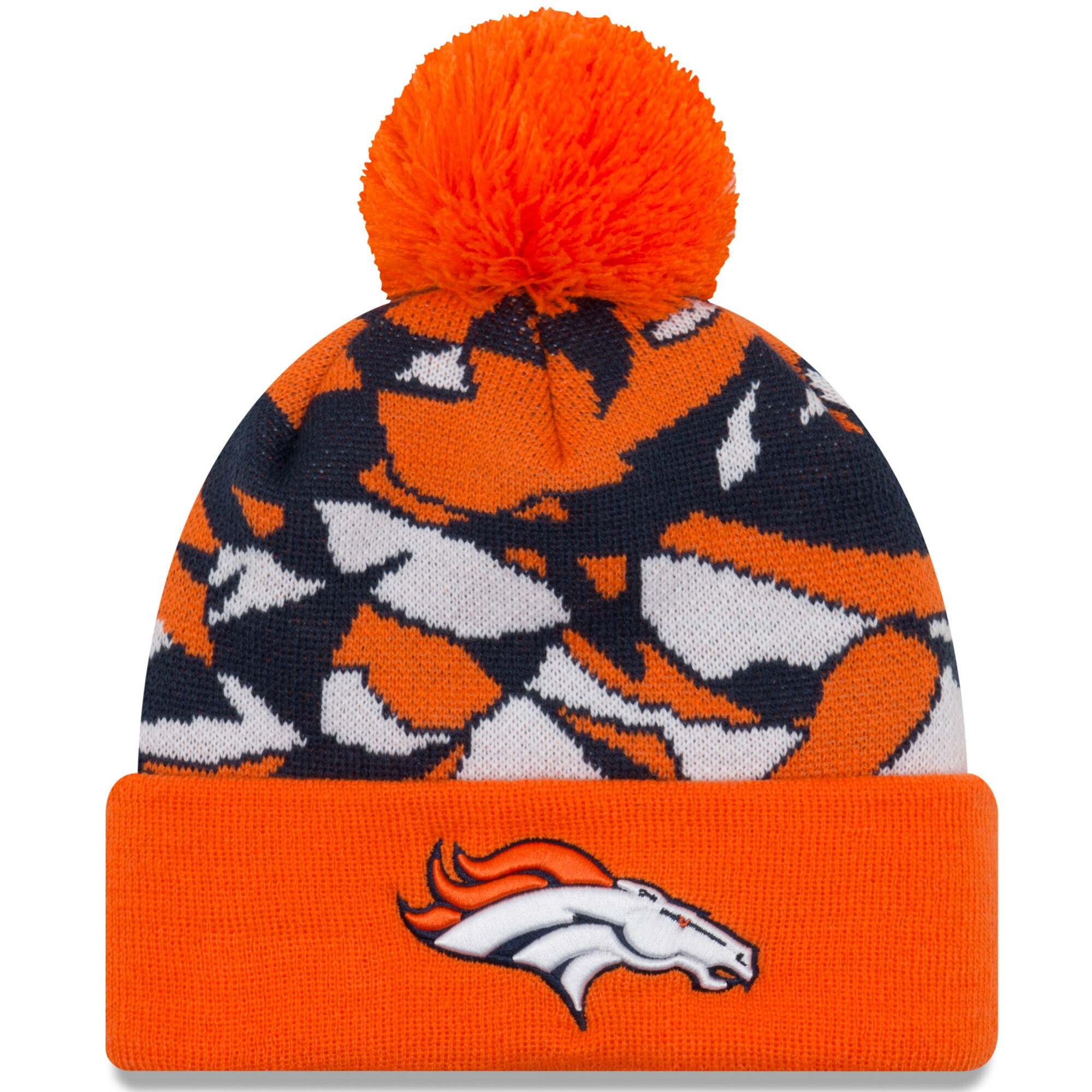 Denver Broncos New Era NFLxFIT Cuffed Knit Hat with Pom - Orange
