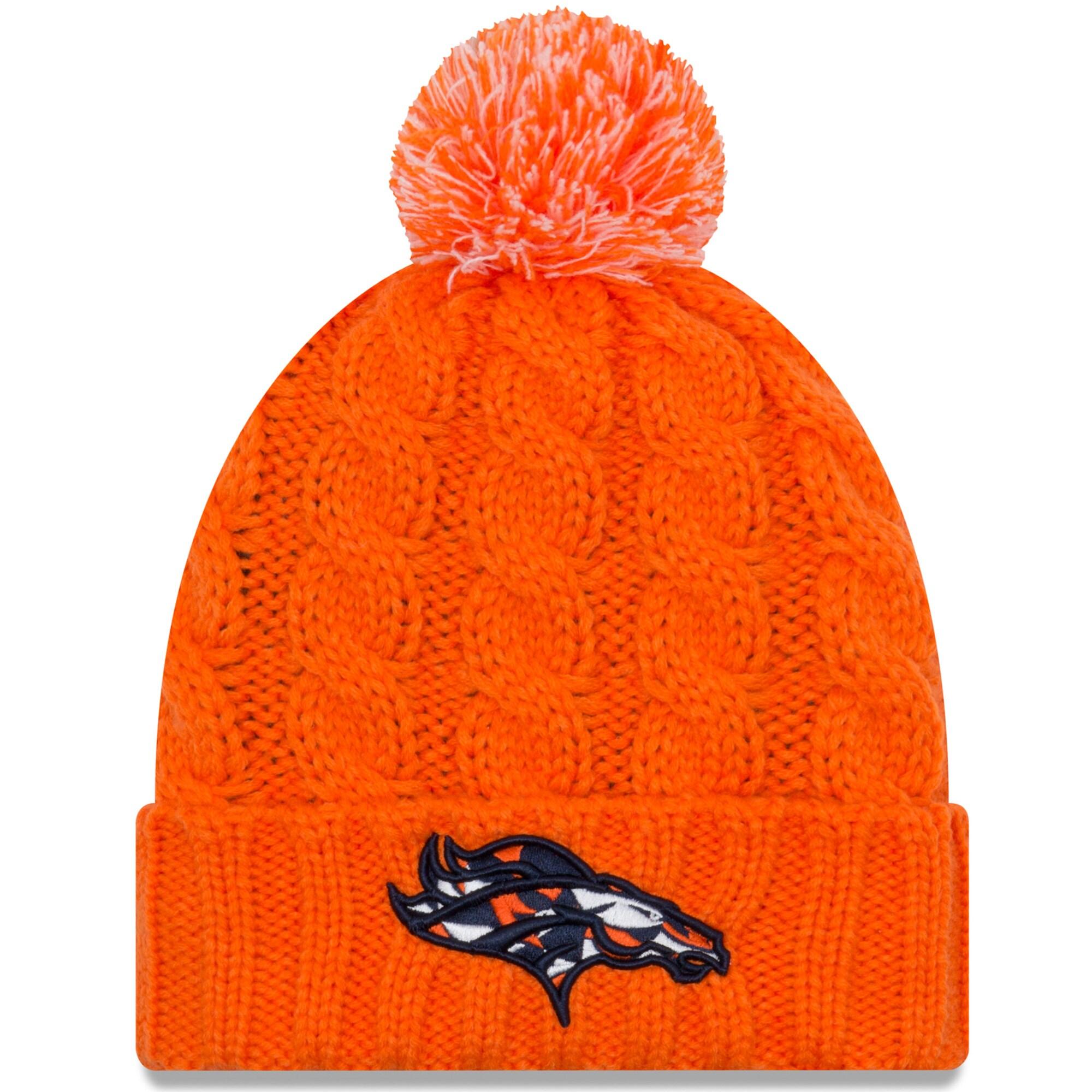 Denver Broncos New Era Women's NFLxFIT Cuffed Knit Hat with Pom - Orange