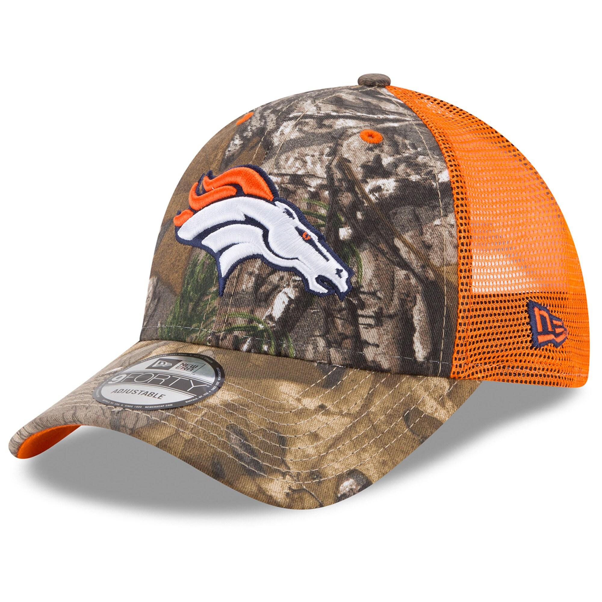 Denver Broncos New Era Trucker 9FORTY Adjustable Snapback Hat - Realtree Camo/Orange