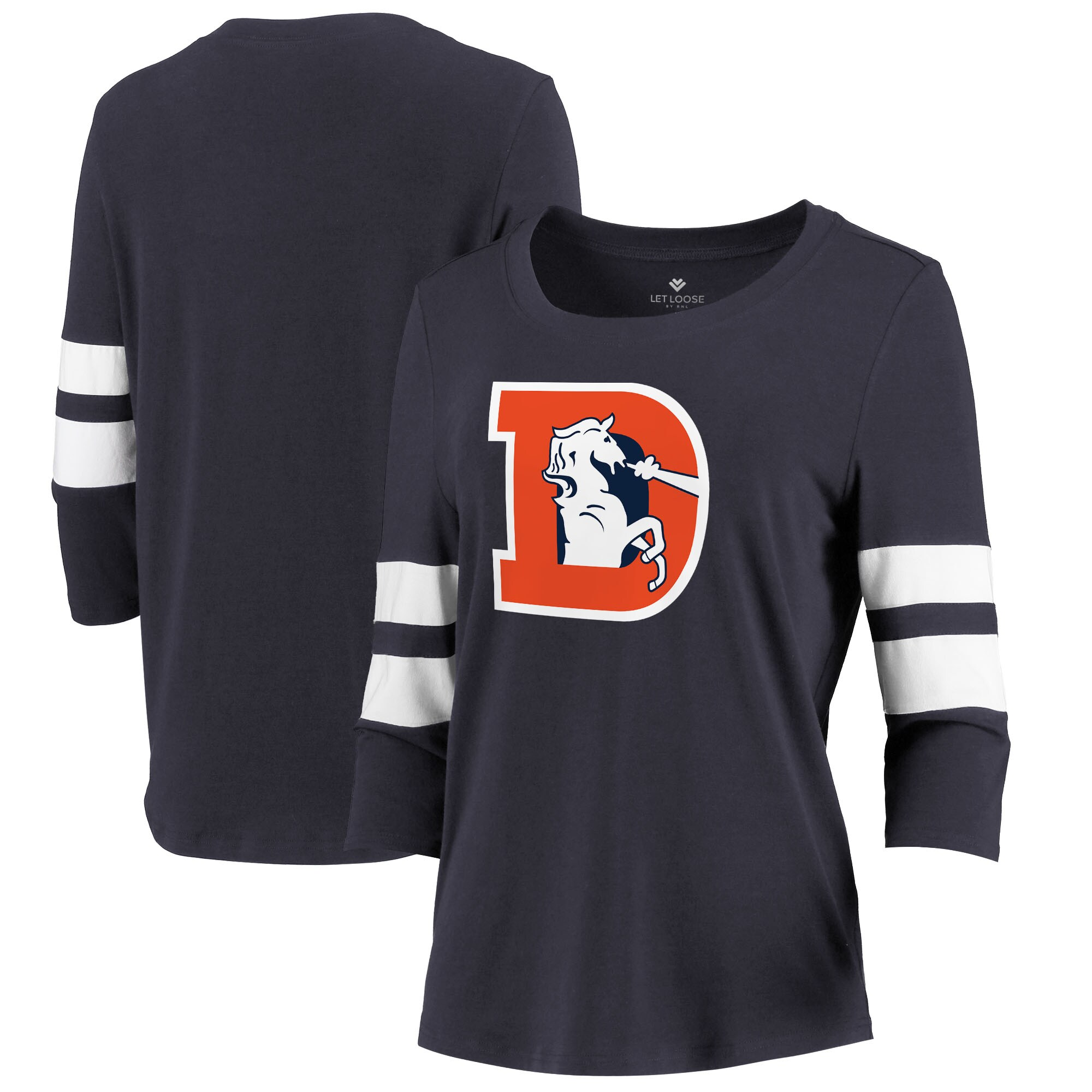 Denver Broncos Let Loose by RNL Women's Team Logo Stripe Tri-Blend 3/4 Sleeve T-Shirt - Navy