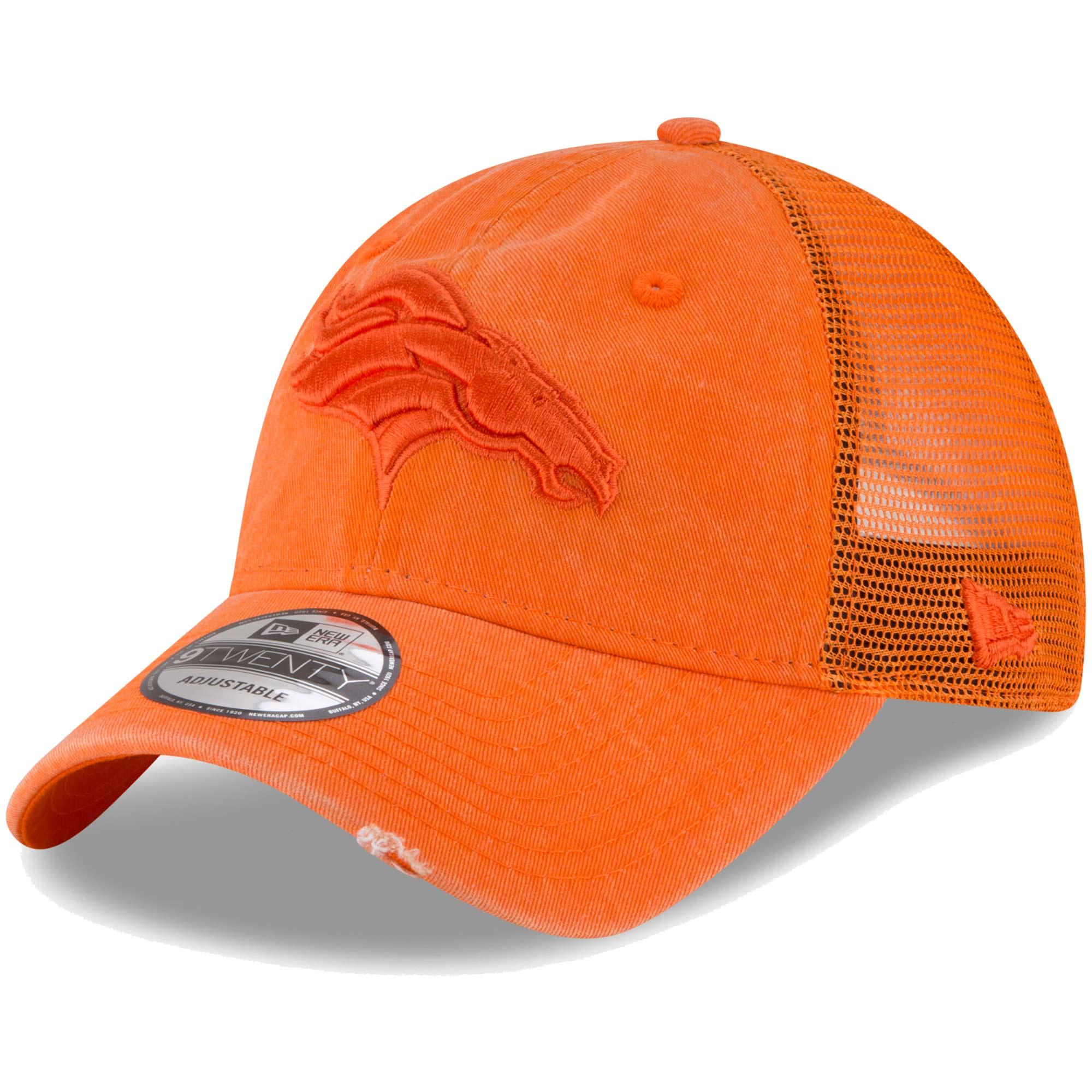 Denver Broncos New Era Tonal Washed Trucker 9TWENTY Adjustable Snapback Hat - Orange