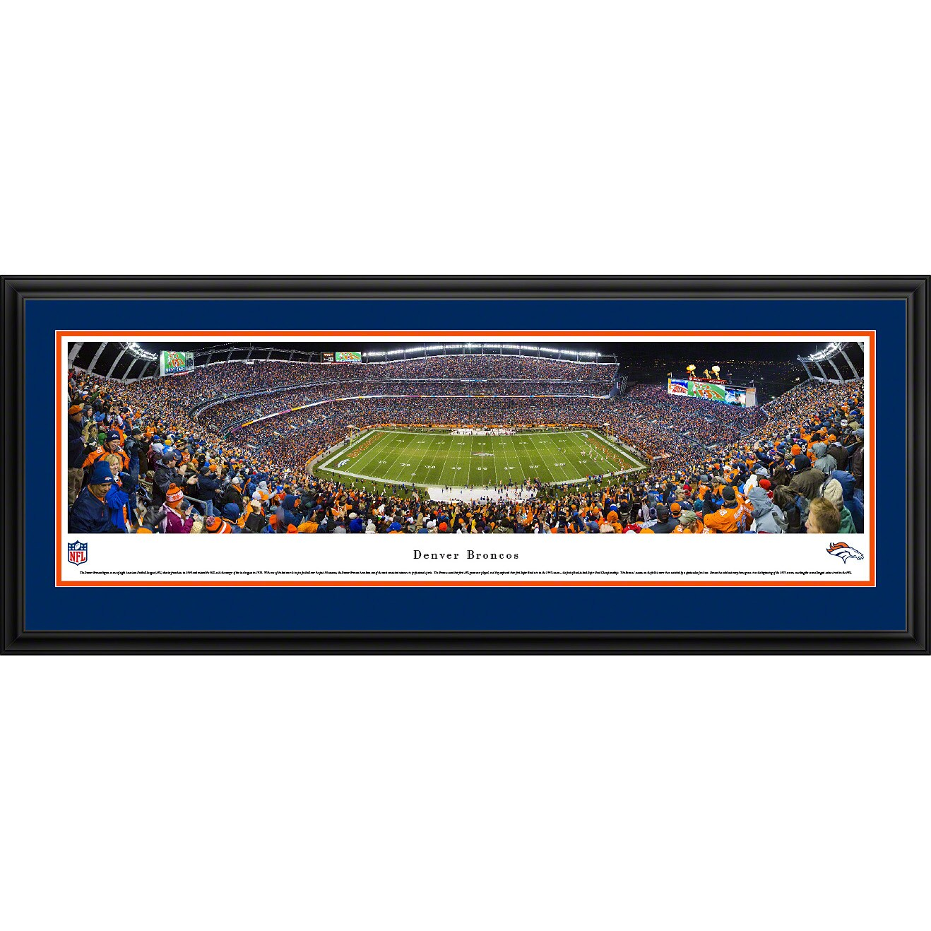 "Denver Broncos 18"" x 44"" Deluxe Frame Panoramic Photo"