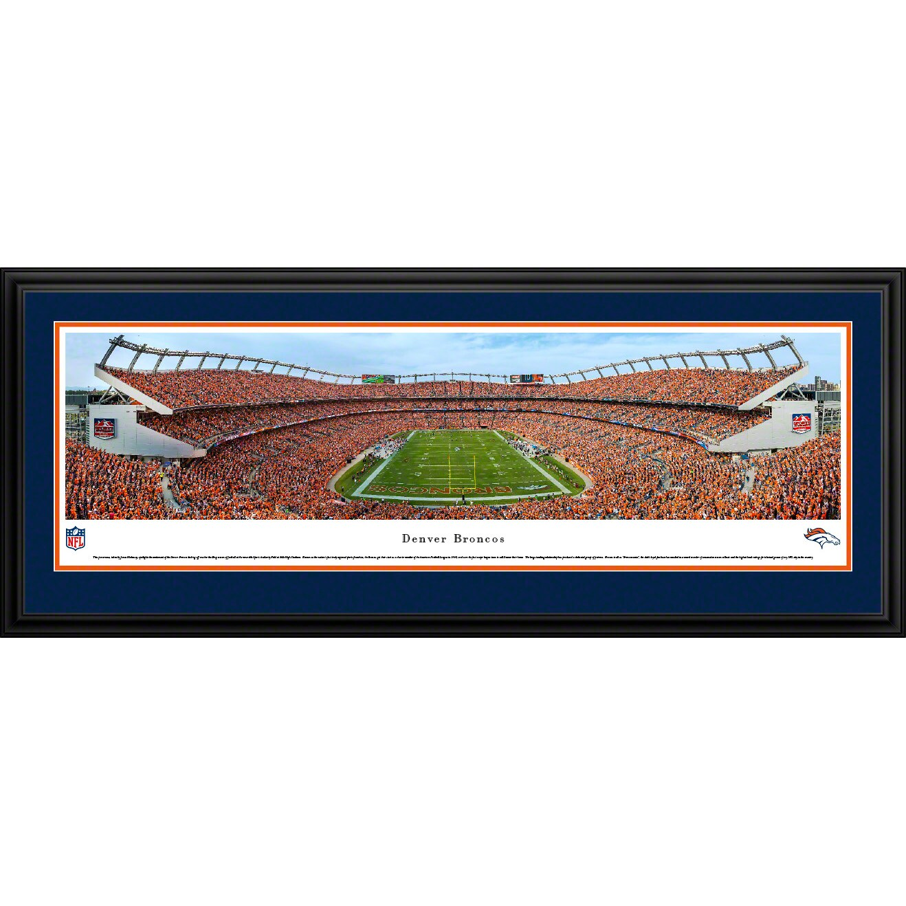 "Denver Broncos 18"" x 44"" Deluxe Frame Stadium Panoramic Photo"