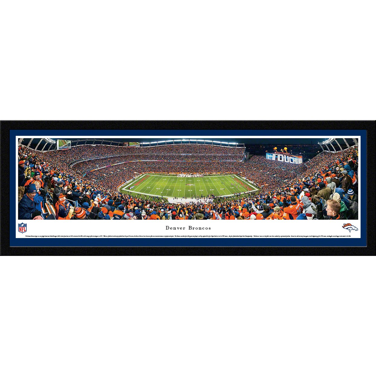 "Denver Broncos 16"" x 42"" Night Select Frame Stadium Panoramic Photo"