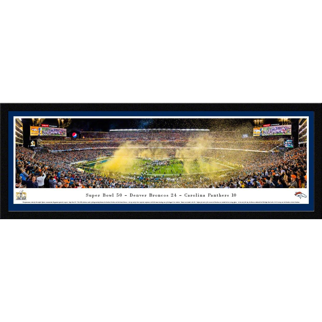 """Denver Broncos Super Bowl 50 16"""" x 42"""" Select Frame Panoramic Photo"""
