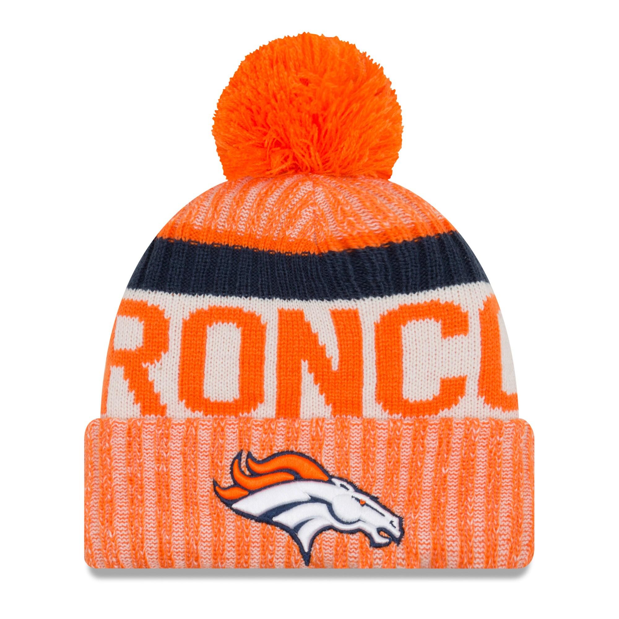 Denver Broncos New Era Youth 2017 Sideline Official Sport Knit Hat - Orange