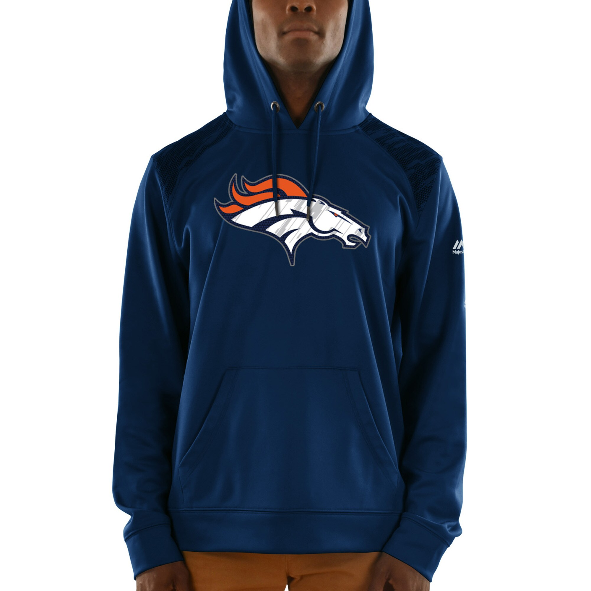 Denver Broncos Majestic Armor Synthetic Pullover Hoodie - Navy