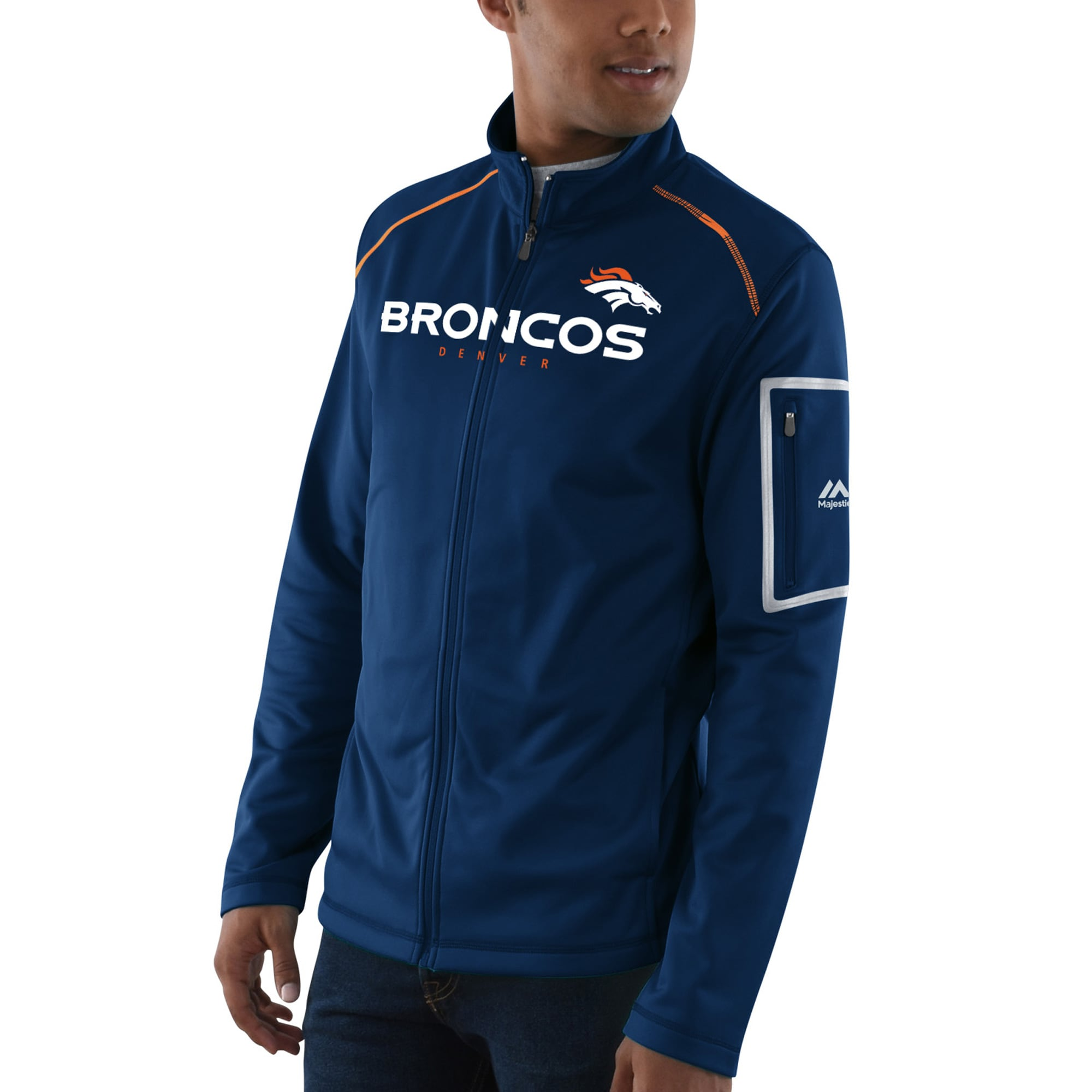 Denver Broncos Majestic Team Tech Track Jacket - Navy