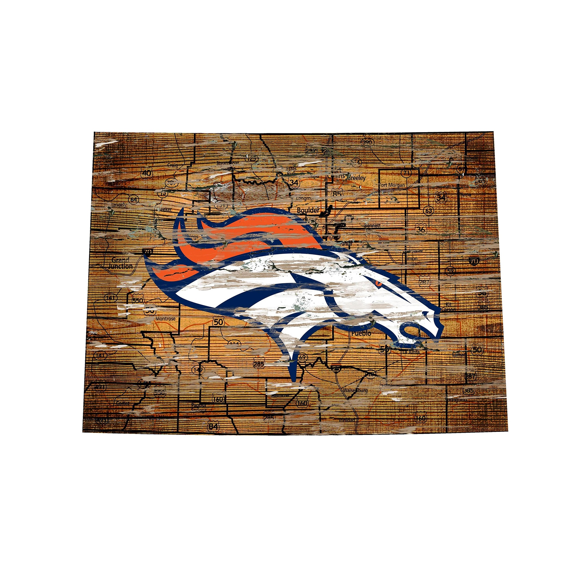 "Denver Broncos 23.5"" x 23.5"" Distressed State with Logo Sign"