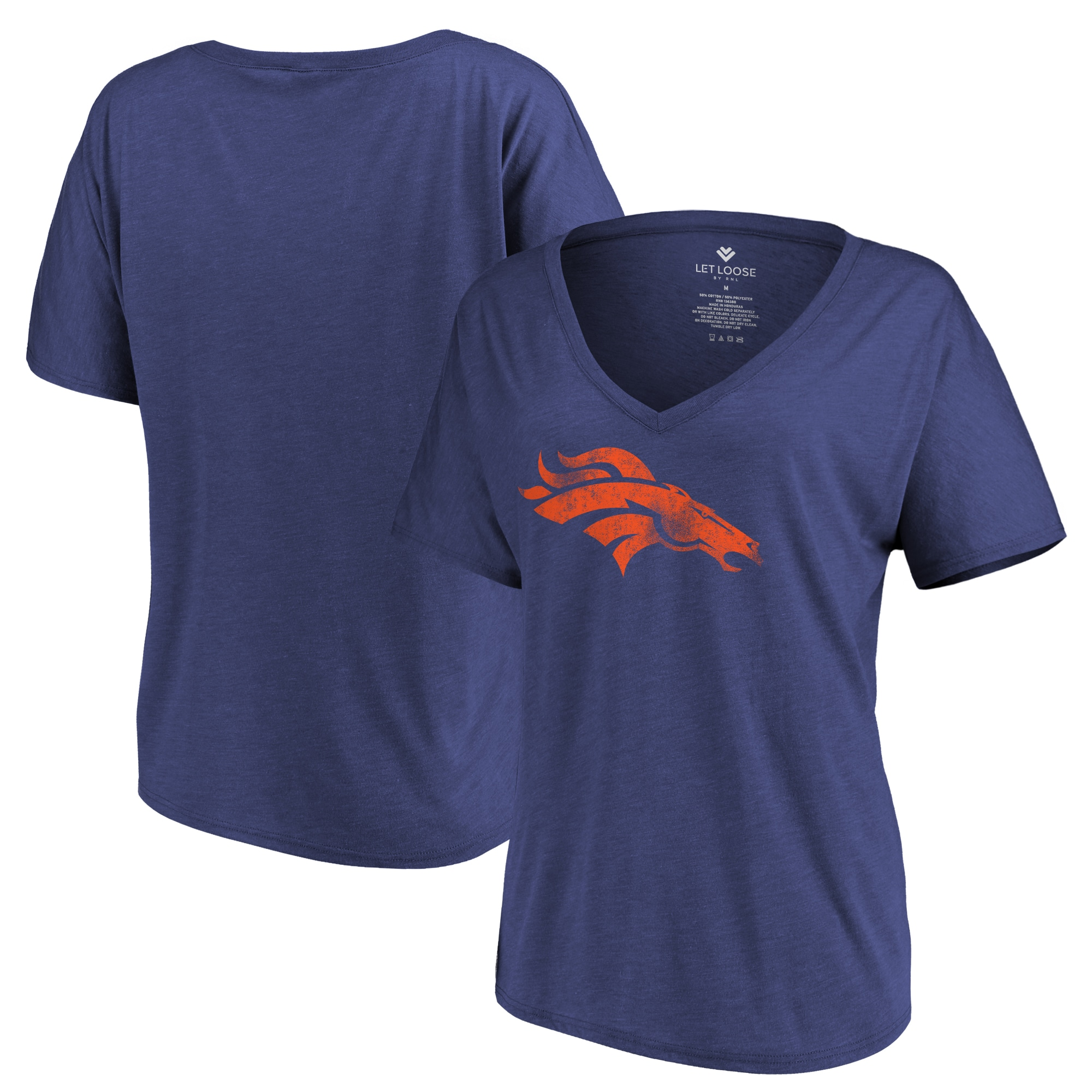 Denver Broncos Let Loose by RNL Women's Distressed Primary V-Neck T-Shirt - Navy