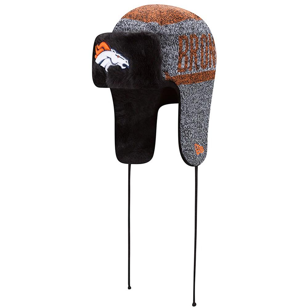 Denver Broncos New Era Frostwork Trapper Knit Hat - Heather Gray