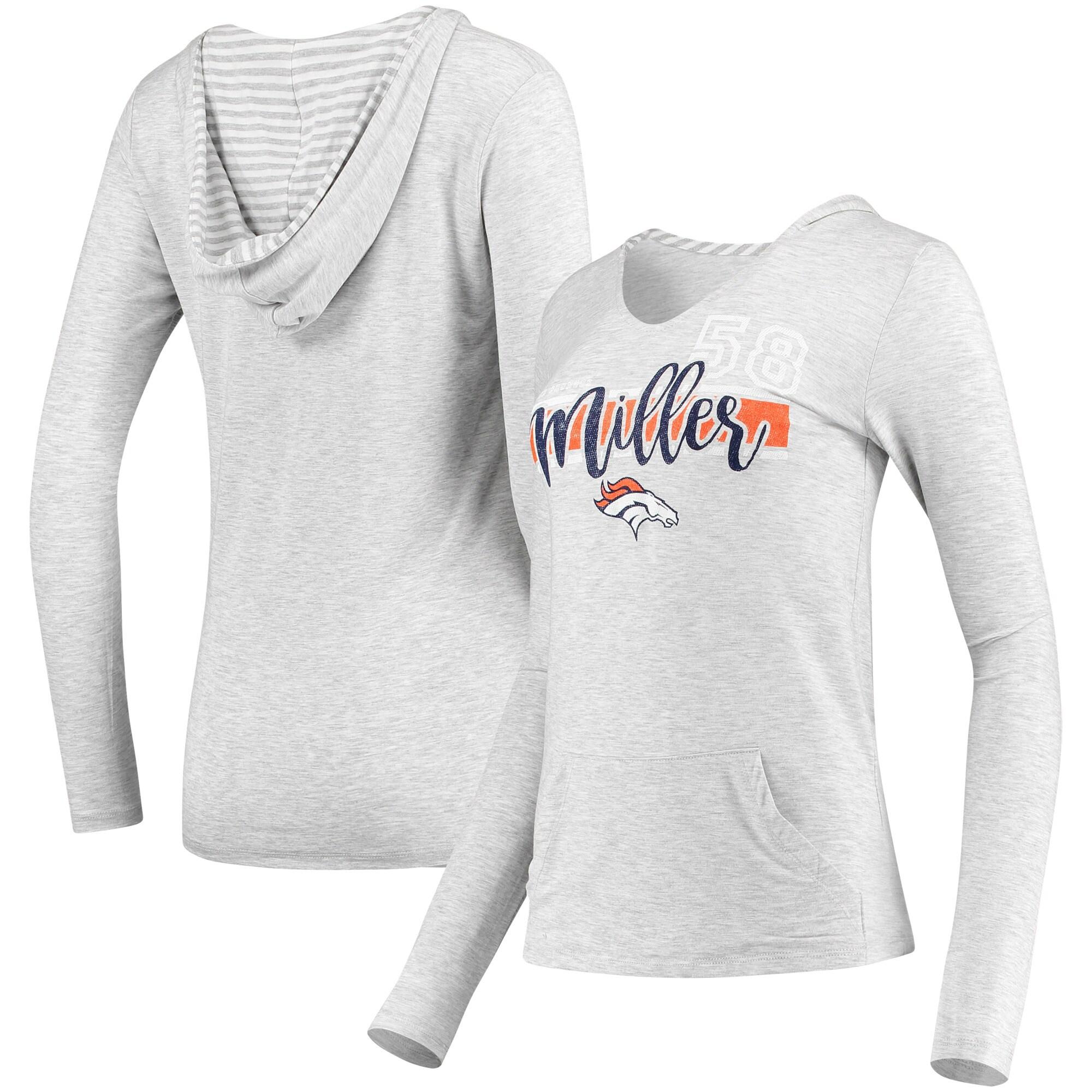 Von Miller Denver Broncos Women's Pocket Name & Number Hoodie T-Shirt - Gray