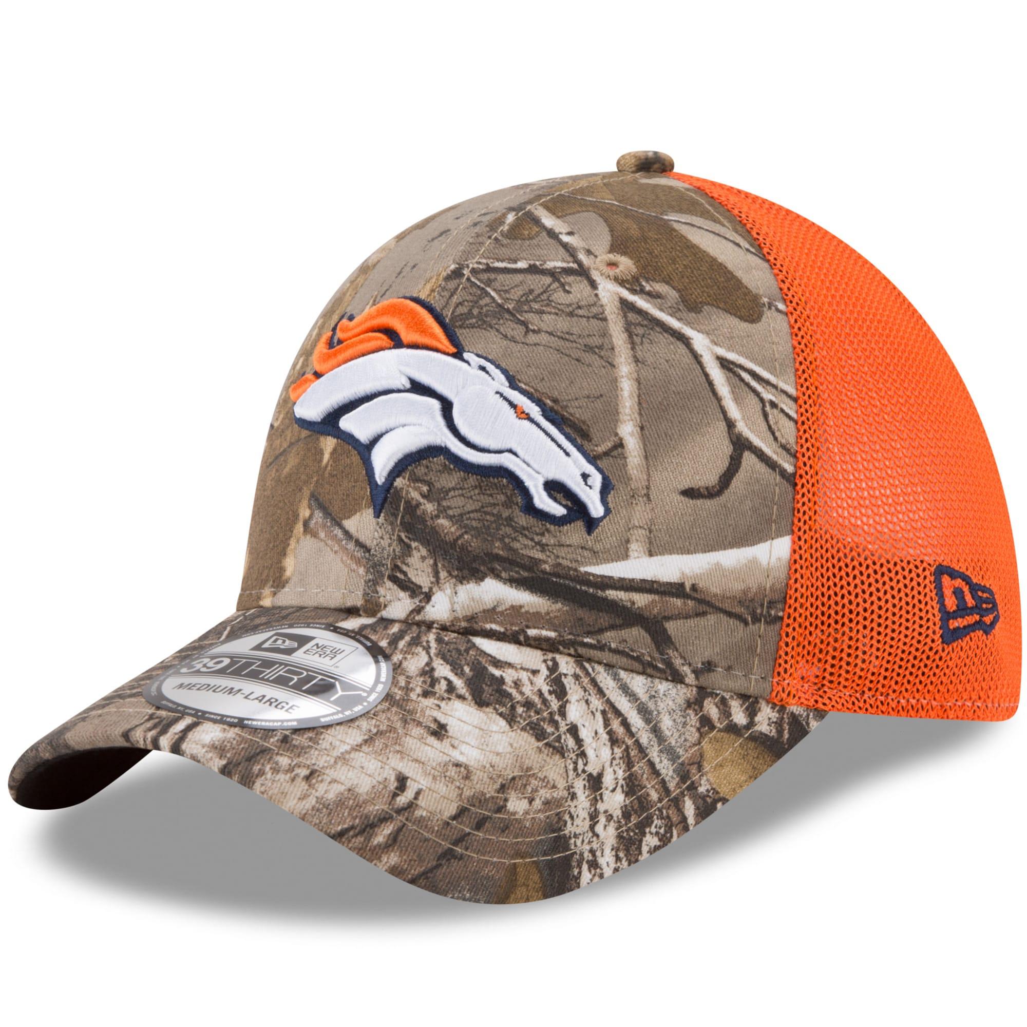 Denver Broncos New Era Trucker 39THIRTY Flex Hat - Realtree Camo/Orange