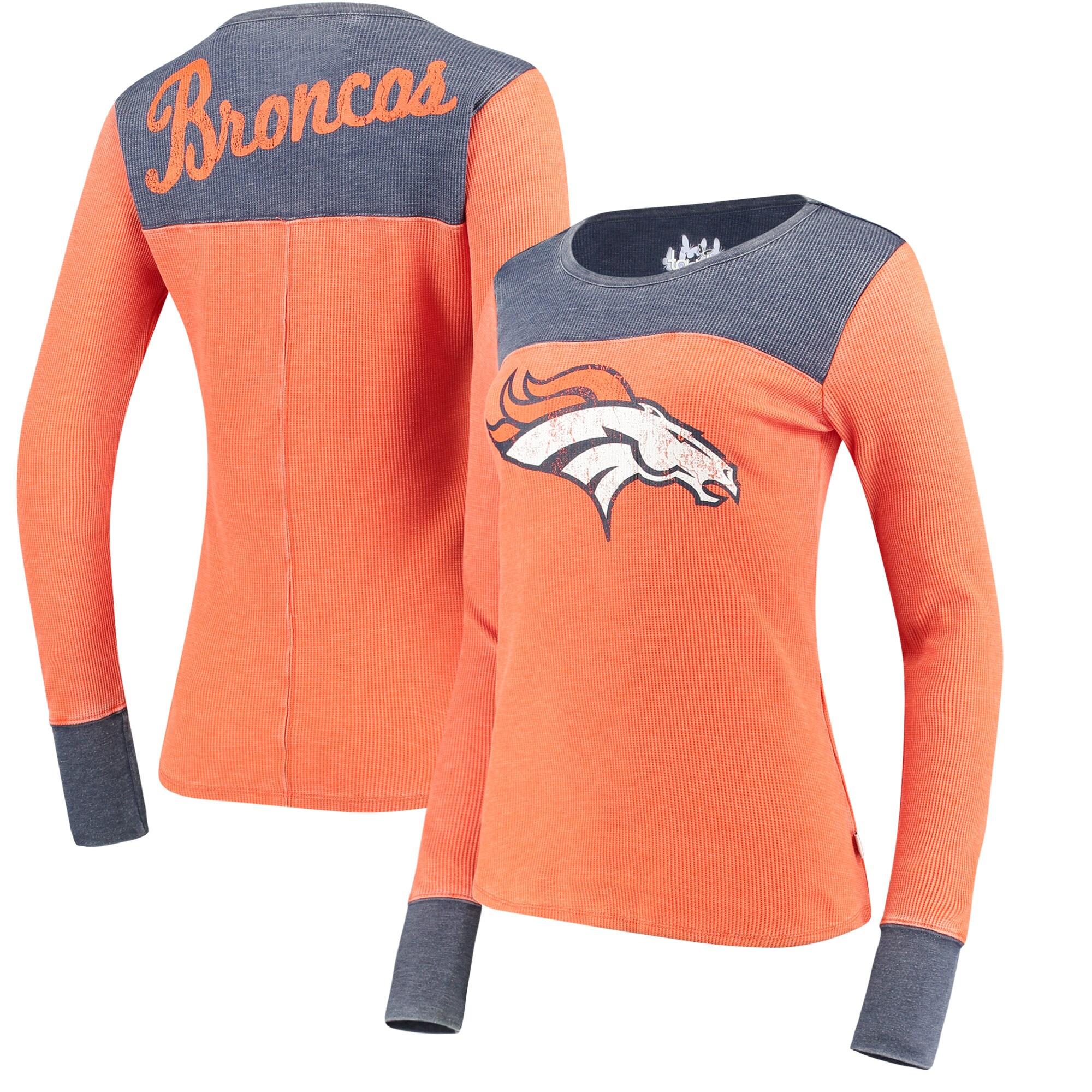Denver Broncos Touch by Alyssa Milano Women's Blindside Long Sleeve Tri-Blend Thermal T-Shirt - Orange/Navy