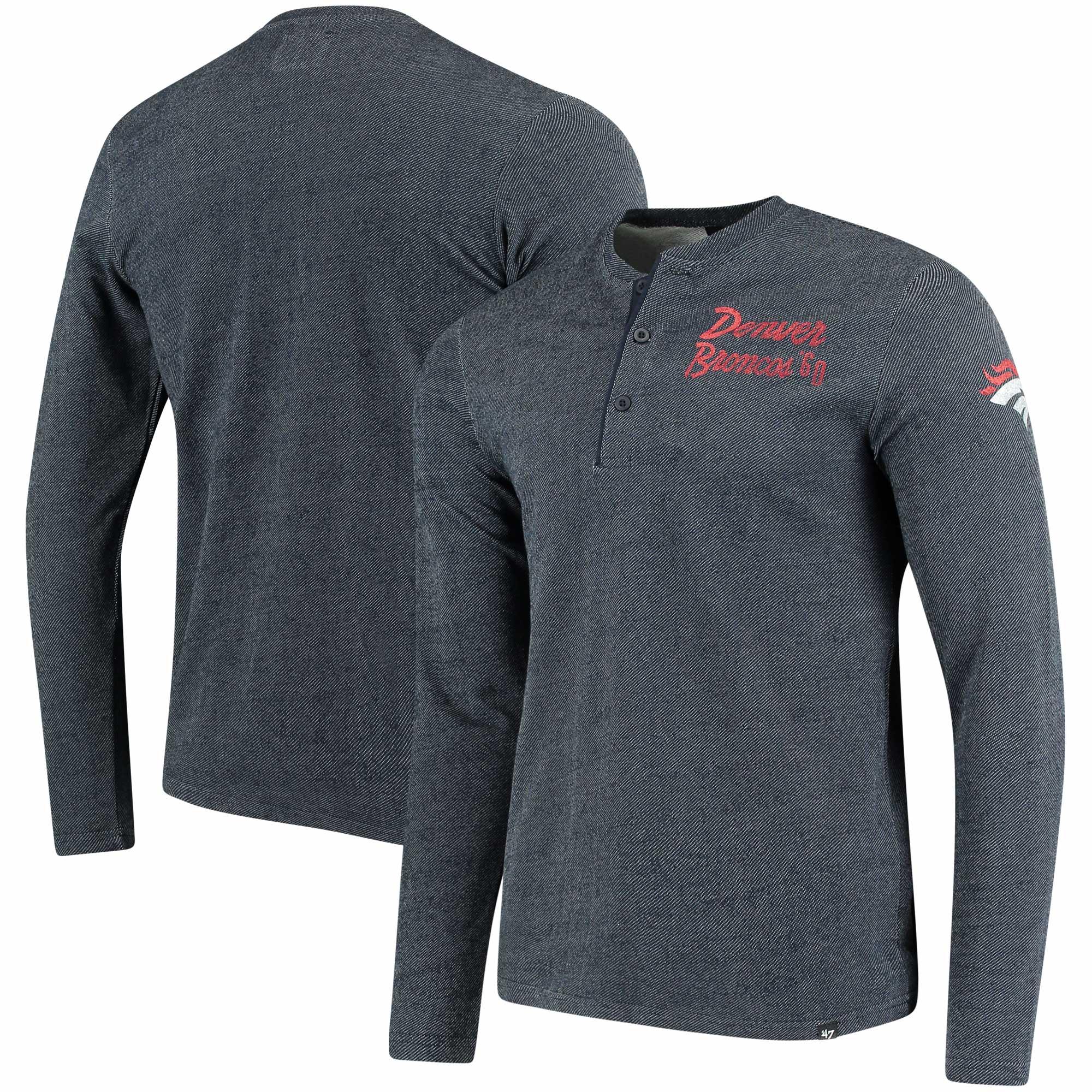 Denver Broncos '47 Top Grain Henley Long Sleeve T-Shirt - Navy