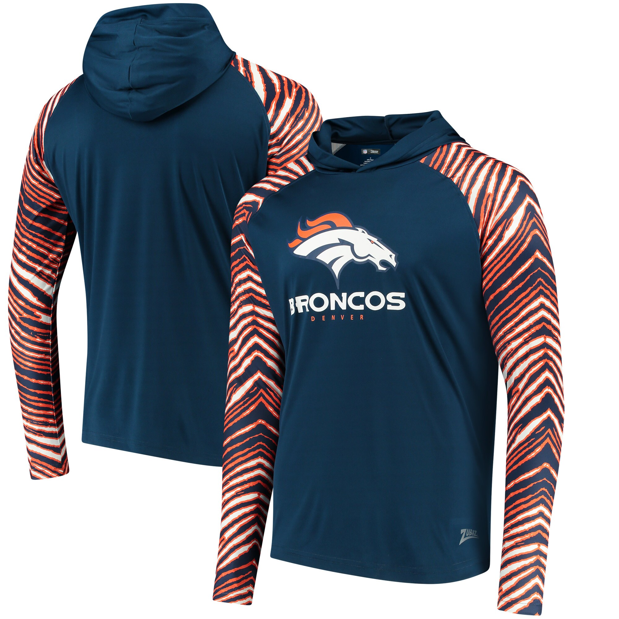 Denver Broncos Zubaz Team Logo Long Sleeve Hoodie T-Shirt - Navy/Orange