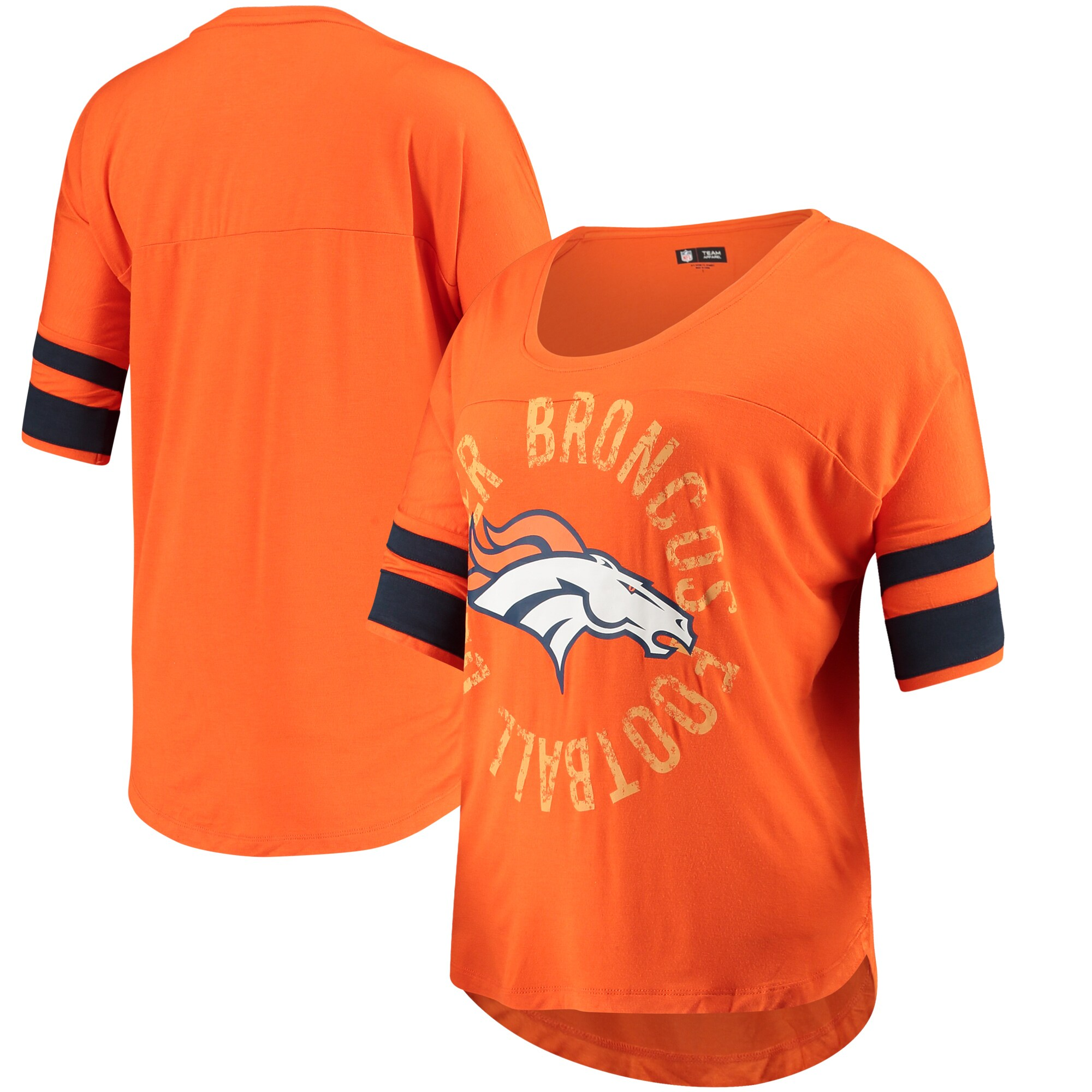 Denver Broncos 5th & Ocean by New Era Women's Novelty Dolman Sleeve Scoop Neck T-Shirt - Orange