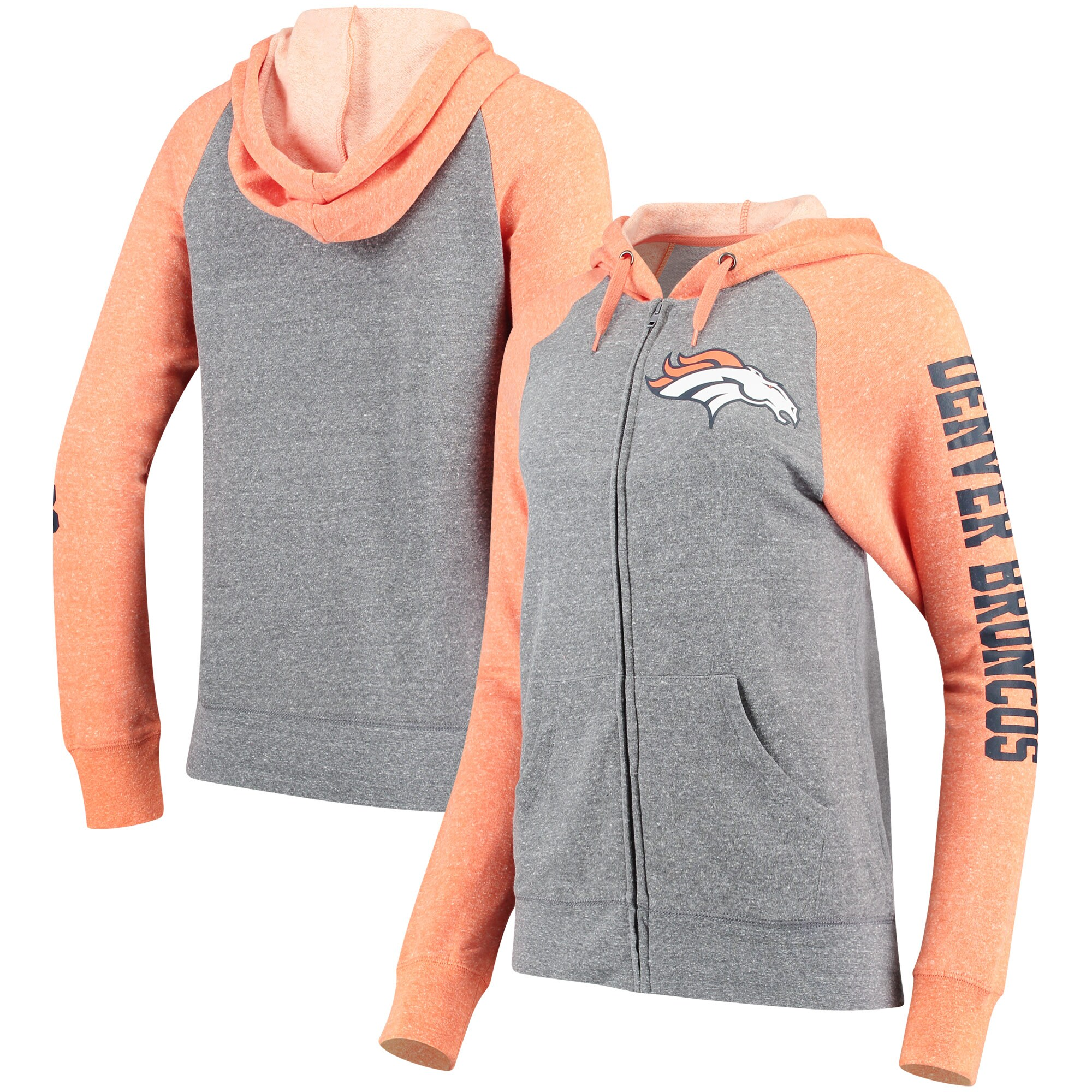 Denver Broncos 5th & Ocean by New Era Women's Fleece Tri-Blend Raglan Sleeve Full-Zip Hoodie - Heathered Gray/Orange