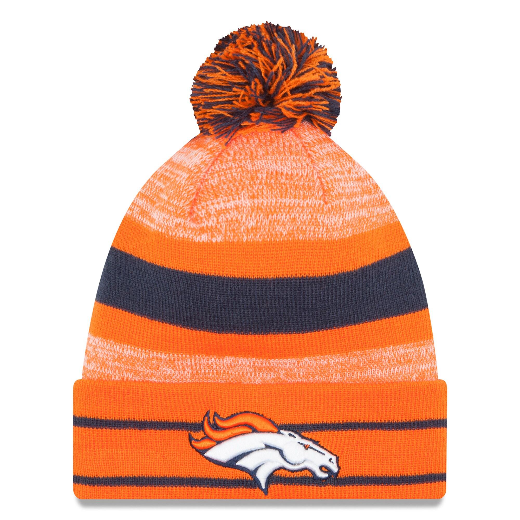 Denver Broncos New Era Team Logo Cuffed Knit Hat with Pom - Orange