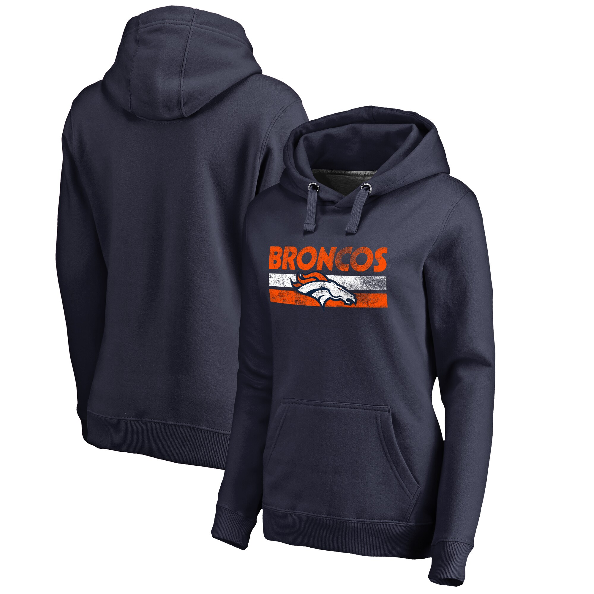 Denver Broncos NFL Pro Line by Fanatics Branded Women's Plus Sizes First String Pullover Hoodie - Navy