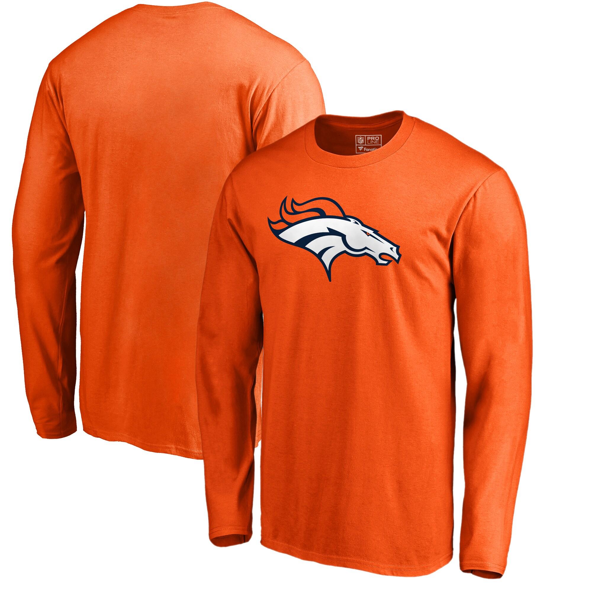 Denver Broncos NFL Pro Line by Fanatics Branded Primary Logo Big & Tall Long-Sleeve T-Shirt - Orange