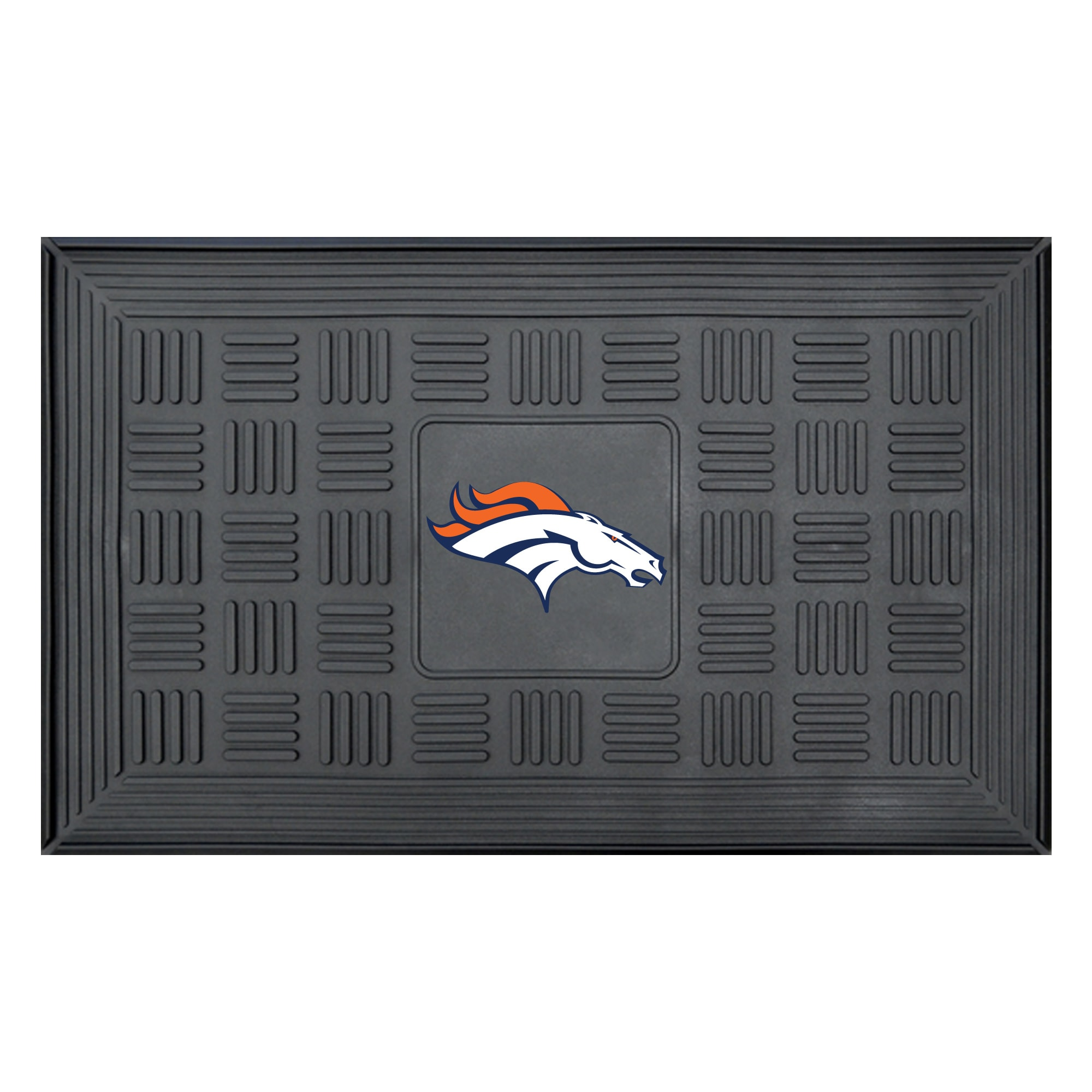 "Denver Broncos 19"" x 30"" Vinyl Medallion Door Mat - Black"
