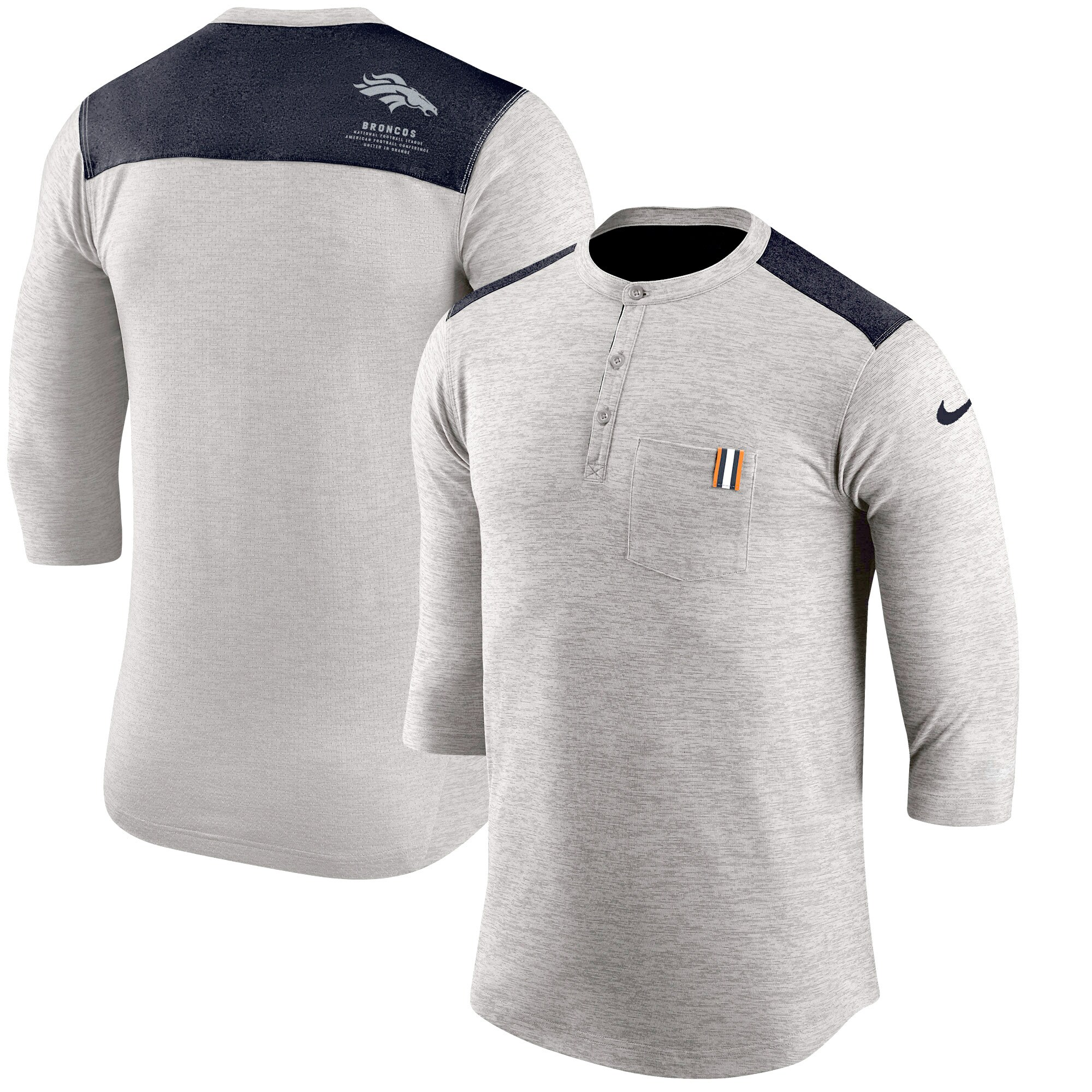 Denver Broncos Nike Performance Henley 3/4-Sleeve T-Shirt - Heathered Gray/Navy