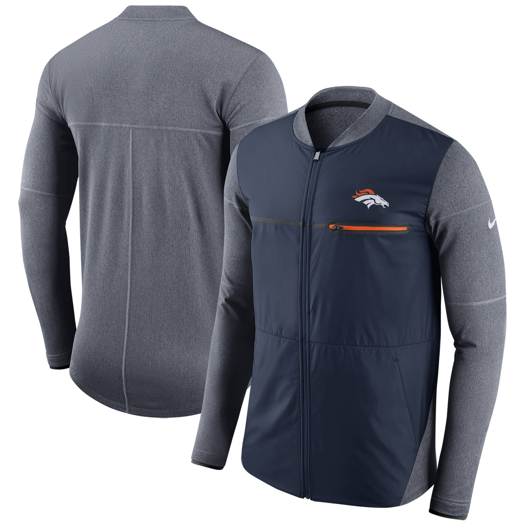 Denver Broncos Nike Sideline Shield Hybrid Full-Zip Jacket - Navy