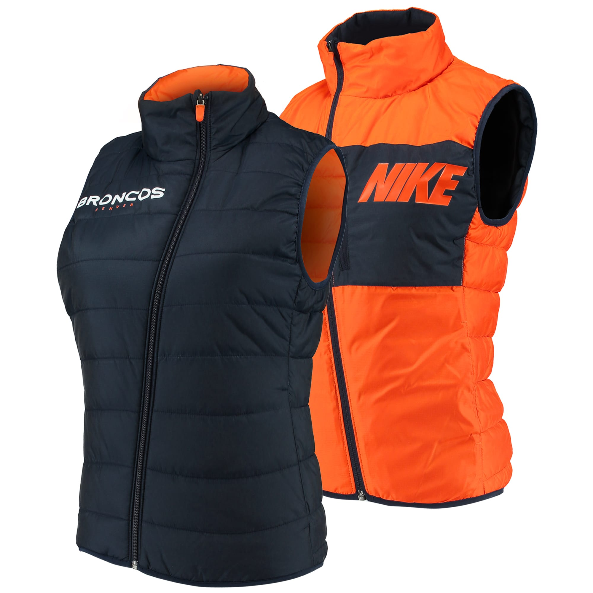 Denver Broncos Nike Women's Reversible Full-Zip Vest - Navy