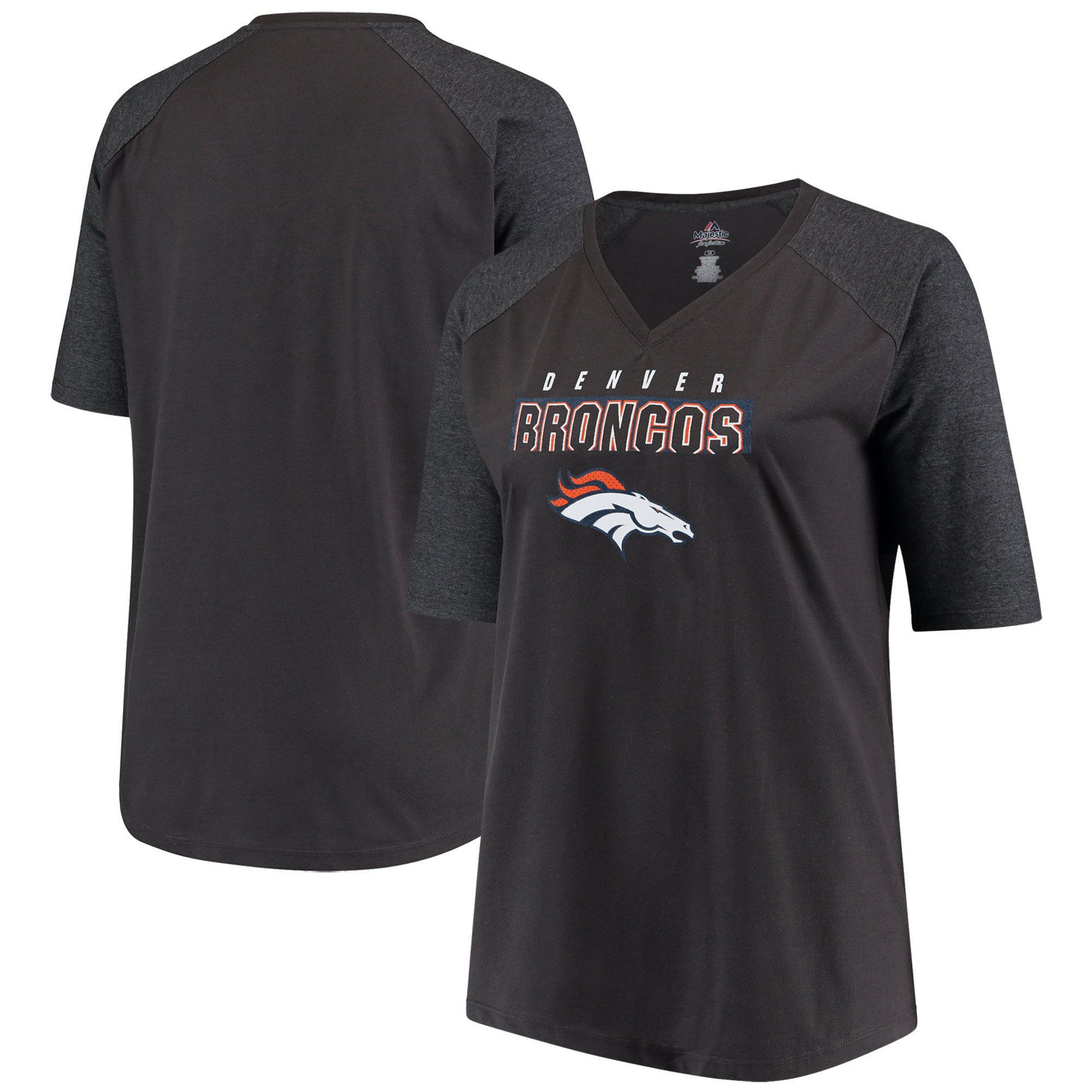 Denver Broncos Majestic Women's Plus Size Team Logo Half-Sleeve Raglan V-Neck T-Shirt - Charcoal/Heathered Gray