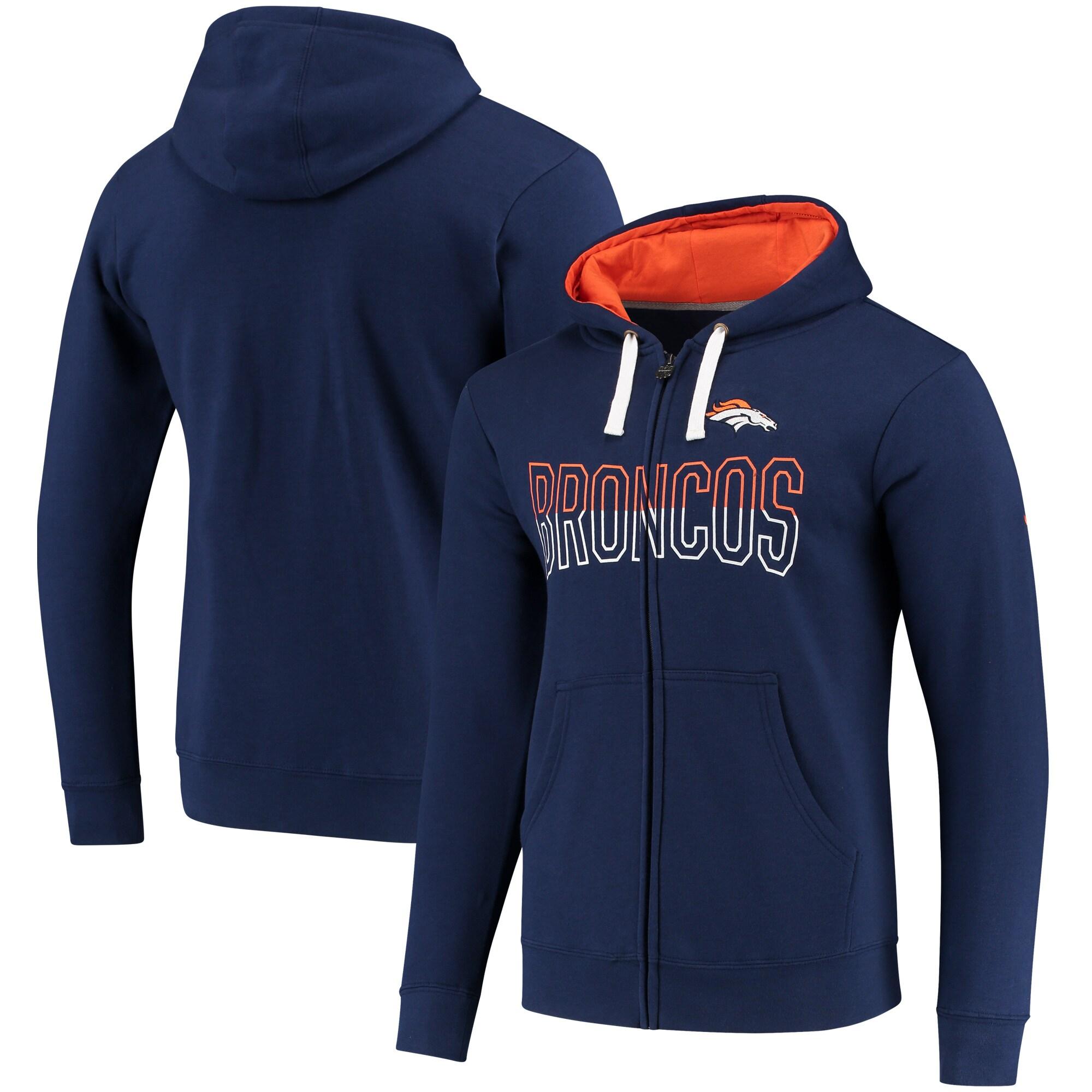 Denver Broncos NFL Pro Line by Fanatics Branded Iconic Fleece Full-Zip Hoodie - Navy