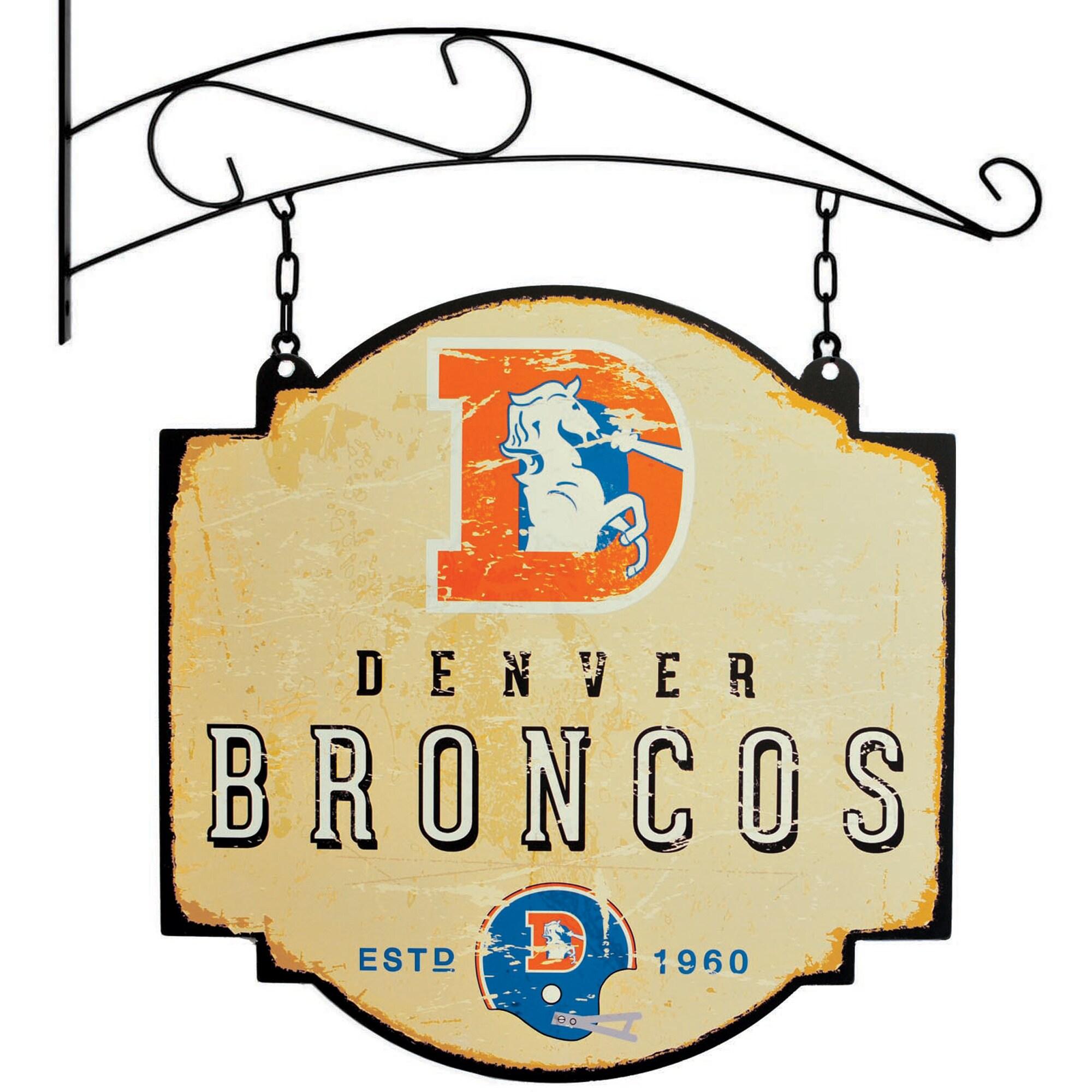 """Denver Broncos 16"""" x 16"""" Tavern Sign - Cream"""