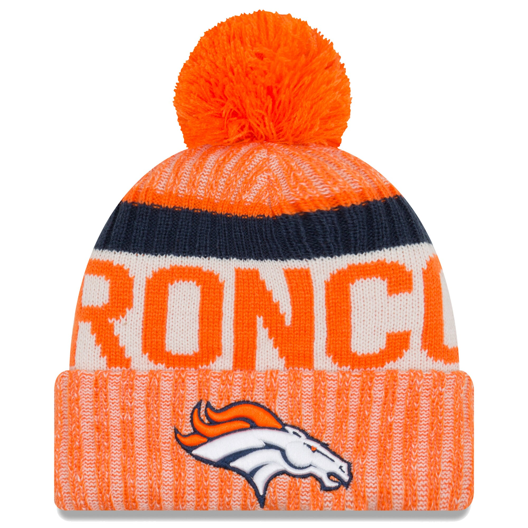 Denver Broncos New Era 2017 Sideline Official Sport Knit Hat - Orange