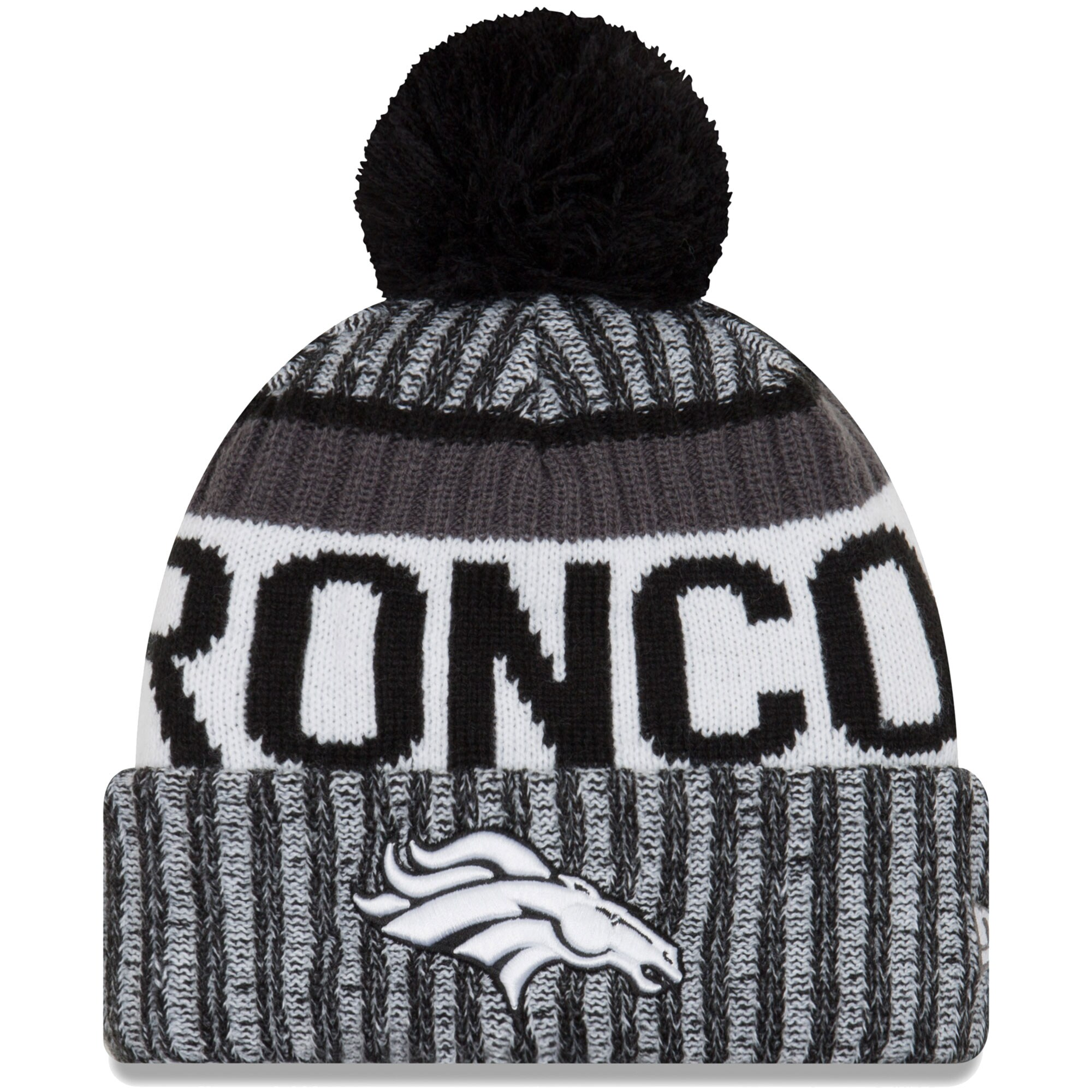 Denver Broncos New Era 2017 Sideline Cold Weather Sport Knit Hat - Black/White