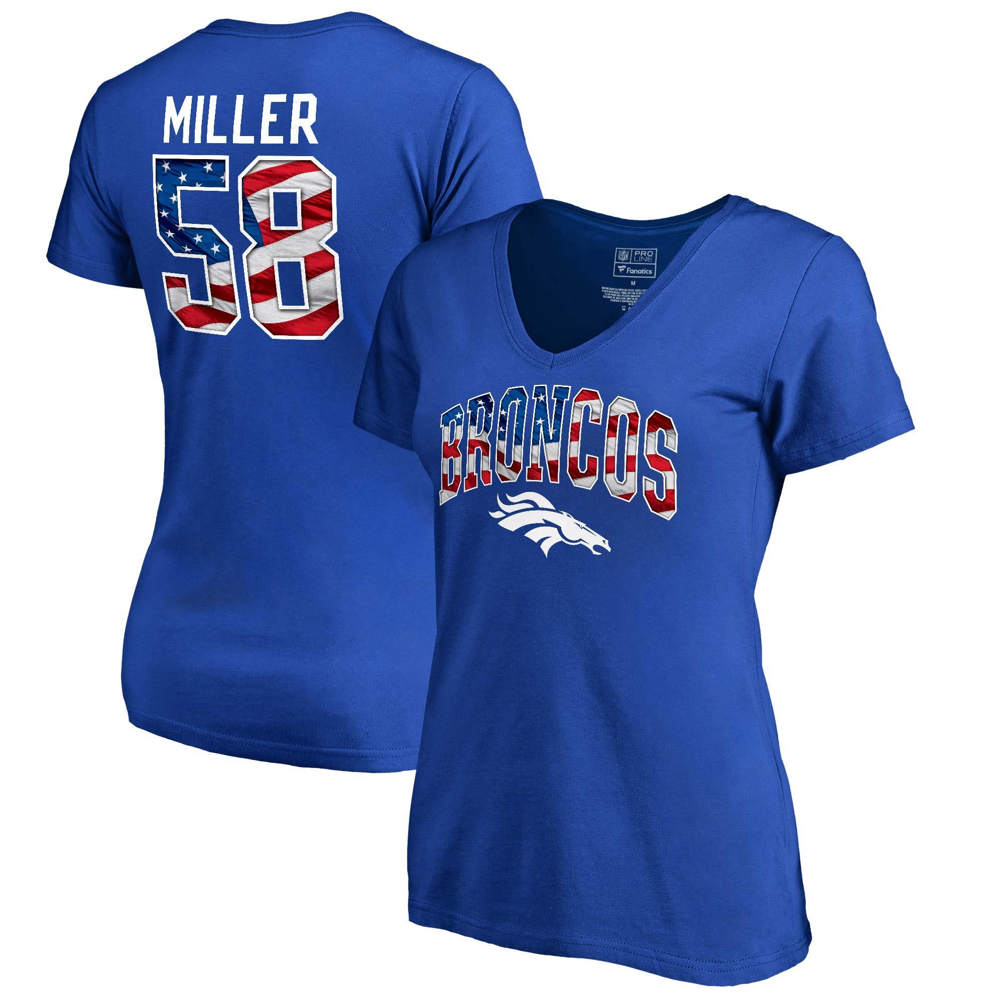 Von Miller Denver Broncos NFL Pro Line by Fanatics Branded Women's Banner Wave Name & Number T-Shirt - Royal