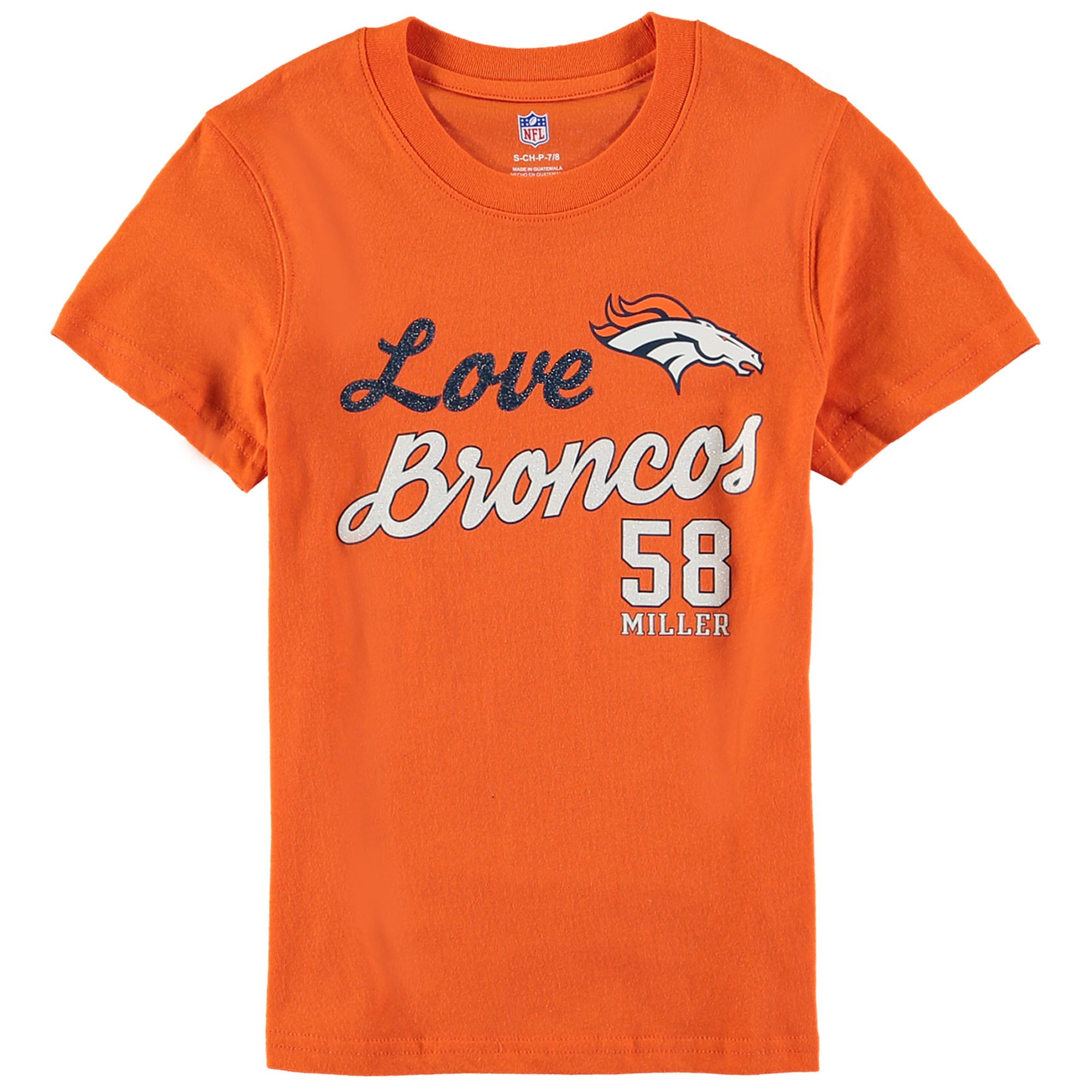 Von Miller Denver Broncos Girls Youth Glitter Live Love Team Player Name & Number T-Shirt - Orange