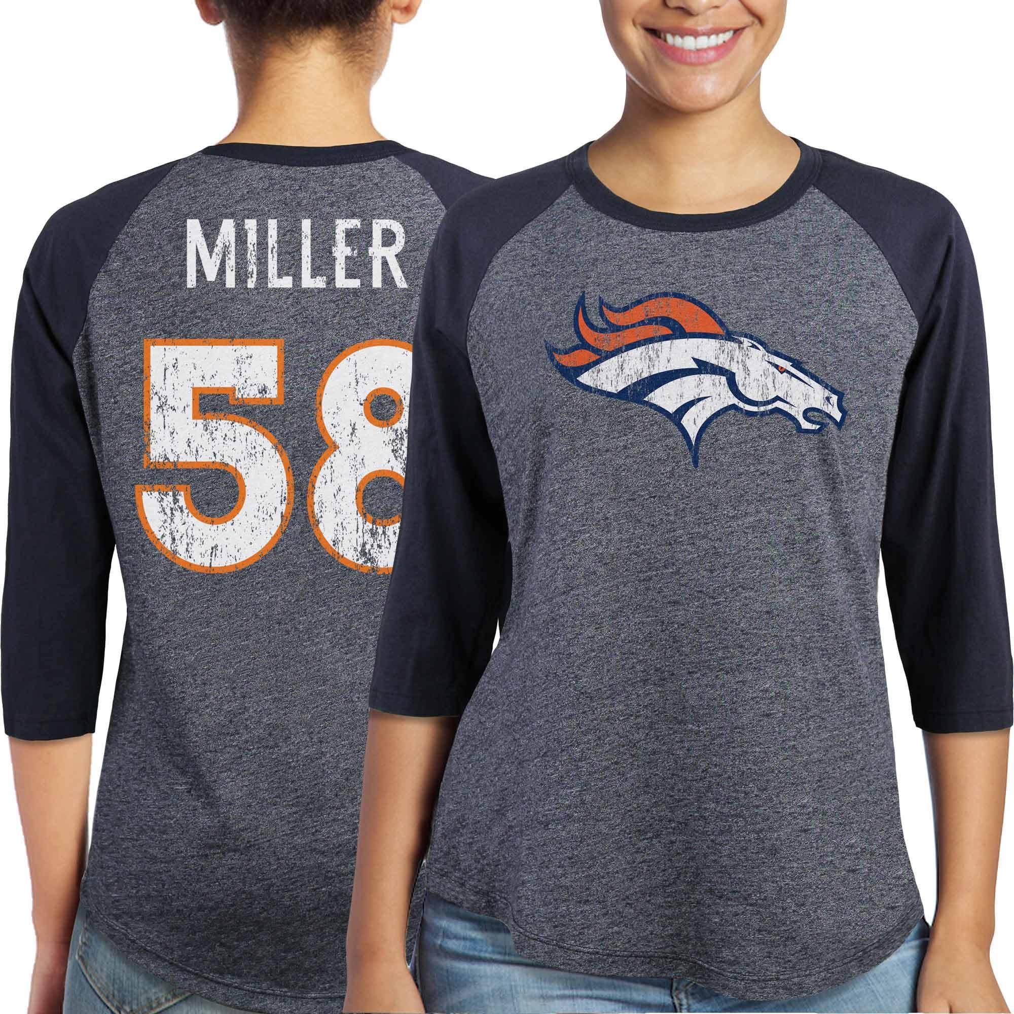 Von Miller Denver Broncos Majestic Women's Player Name & Number Tri-Blend Three-Quarter Sleeve T-Shirt - Navy