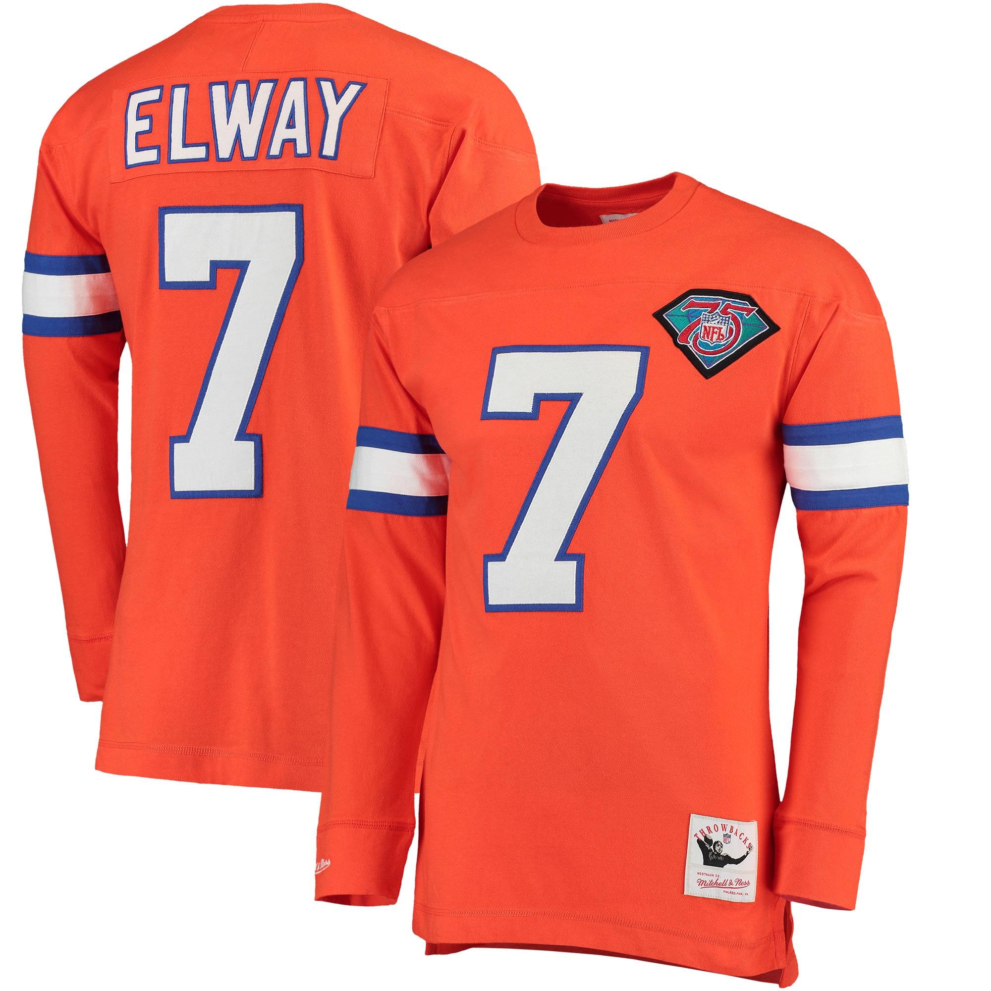 John Elway Denver Broncos Mitchell & Ness Retired Player Name & Number Long Sleeve Top - Orange