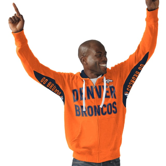 Denver Broncos Hands High Sueded Playoff Full-Zip Hoodie - Orange