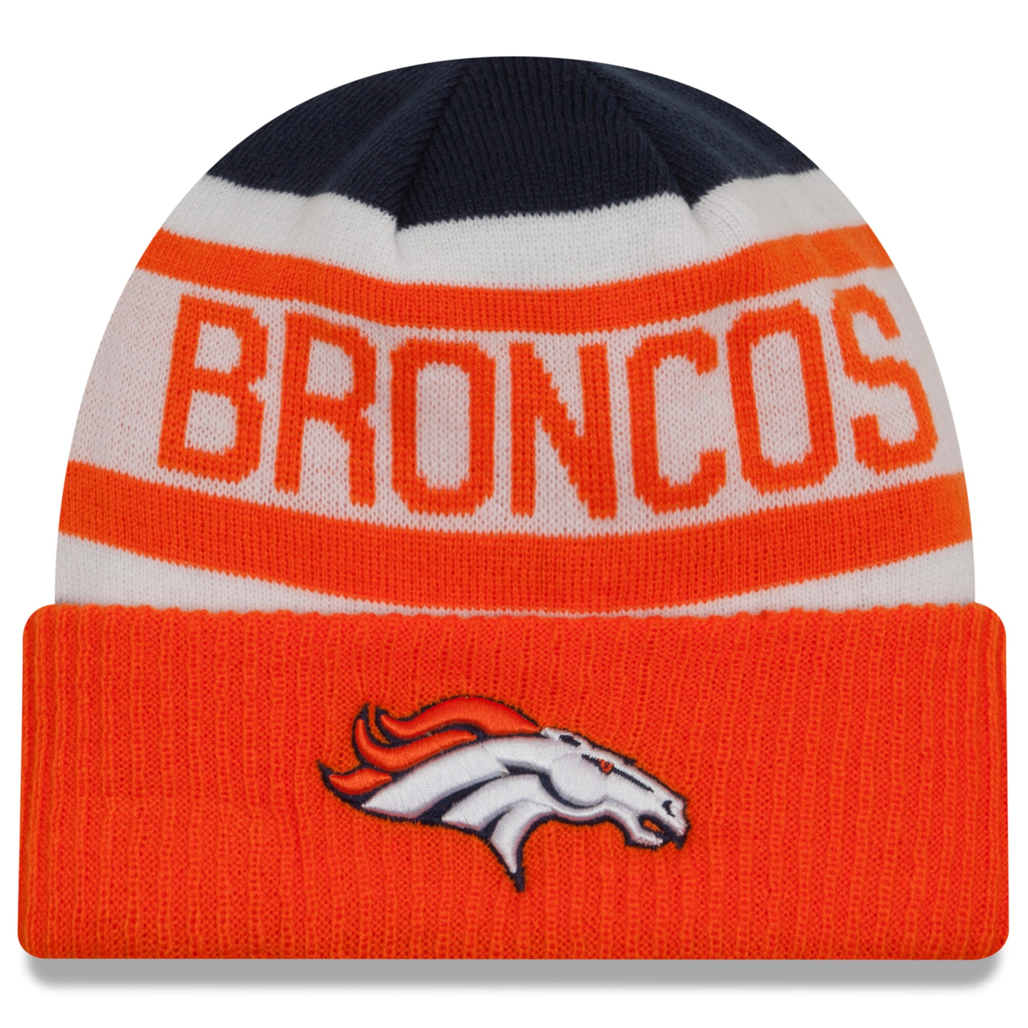 Denver Broncos New Era Biggest Fan 2.0 Cuffed Knit Hat - Navy/Orange