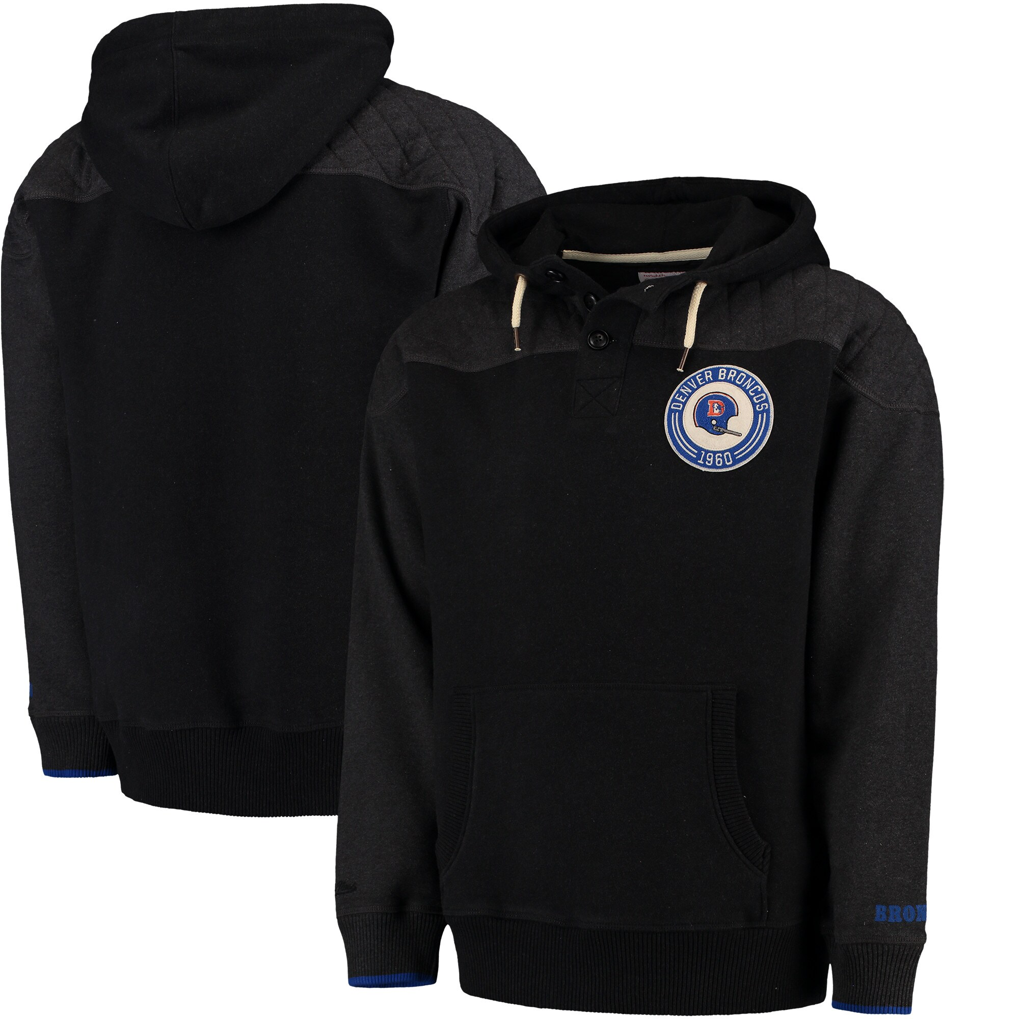 Denver Broncos Mitchell & Ness Play By Play Pullover Hoodie - Black