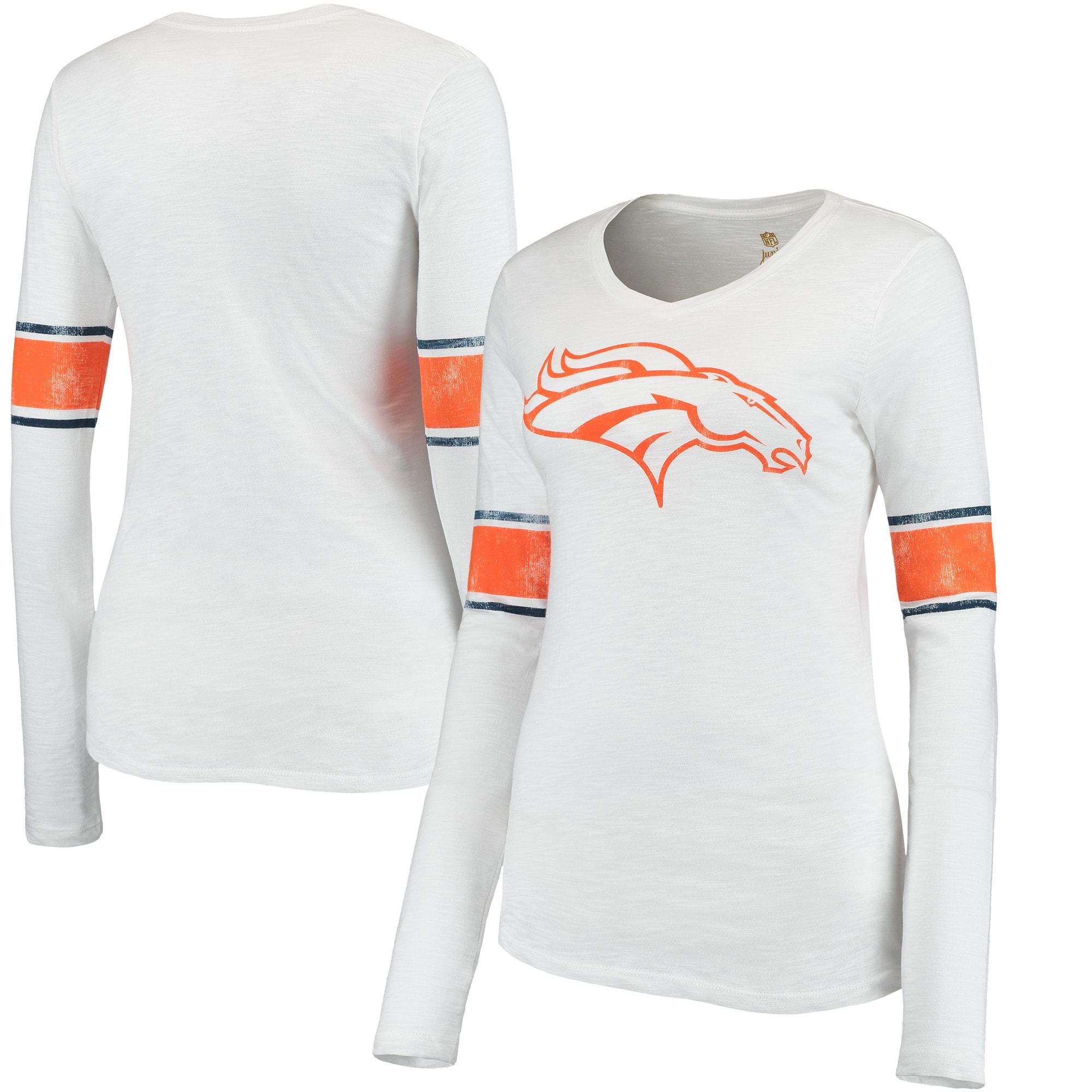 Denver Broncos Juniors Team Leader V-Neck Long Sleeve T-Shirt - White
