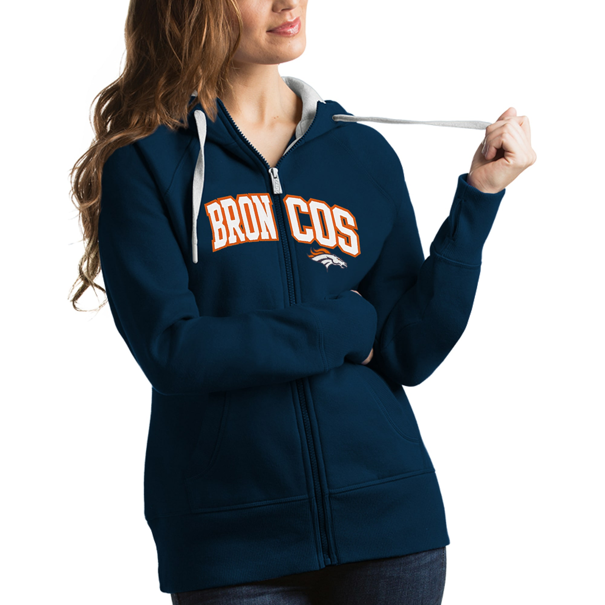Denver Broncos Antigua Women's Victory Full-Zip Hoodie - Navy