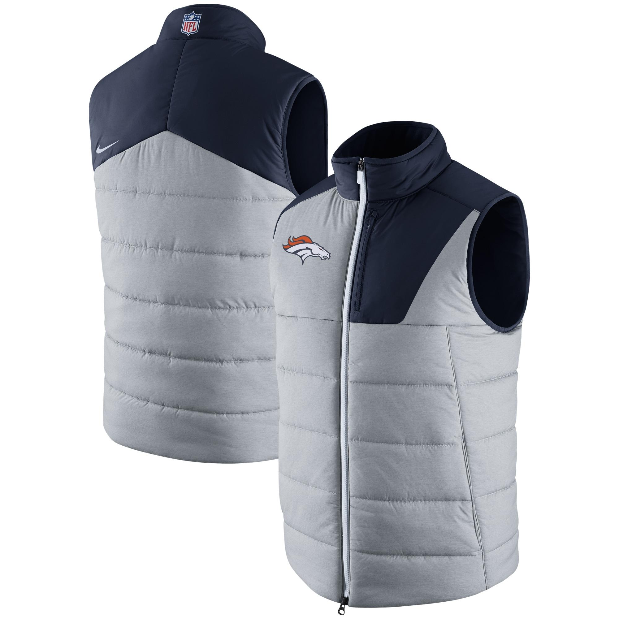Denver Broncos Nike Champ Drive Vest - Heathered Gray