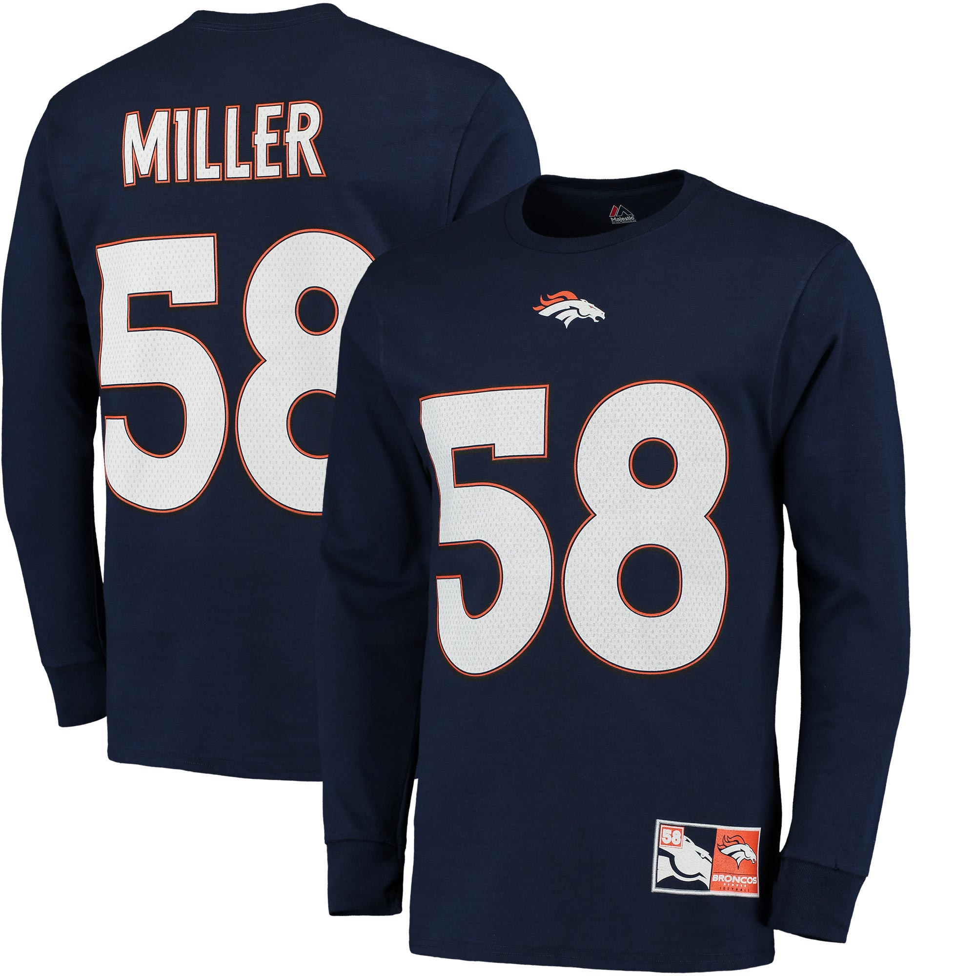 Denver Broncos Majestic Eligible Receiver II Name & Number Long Sleeve T-Shirt - Navy