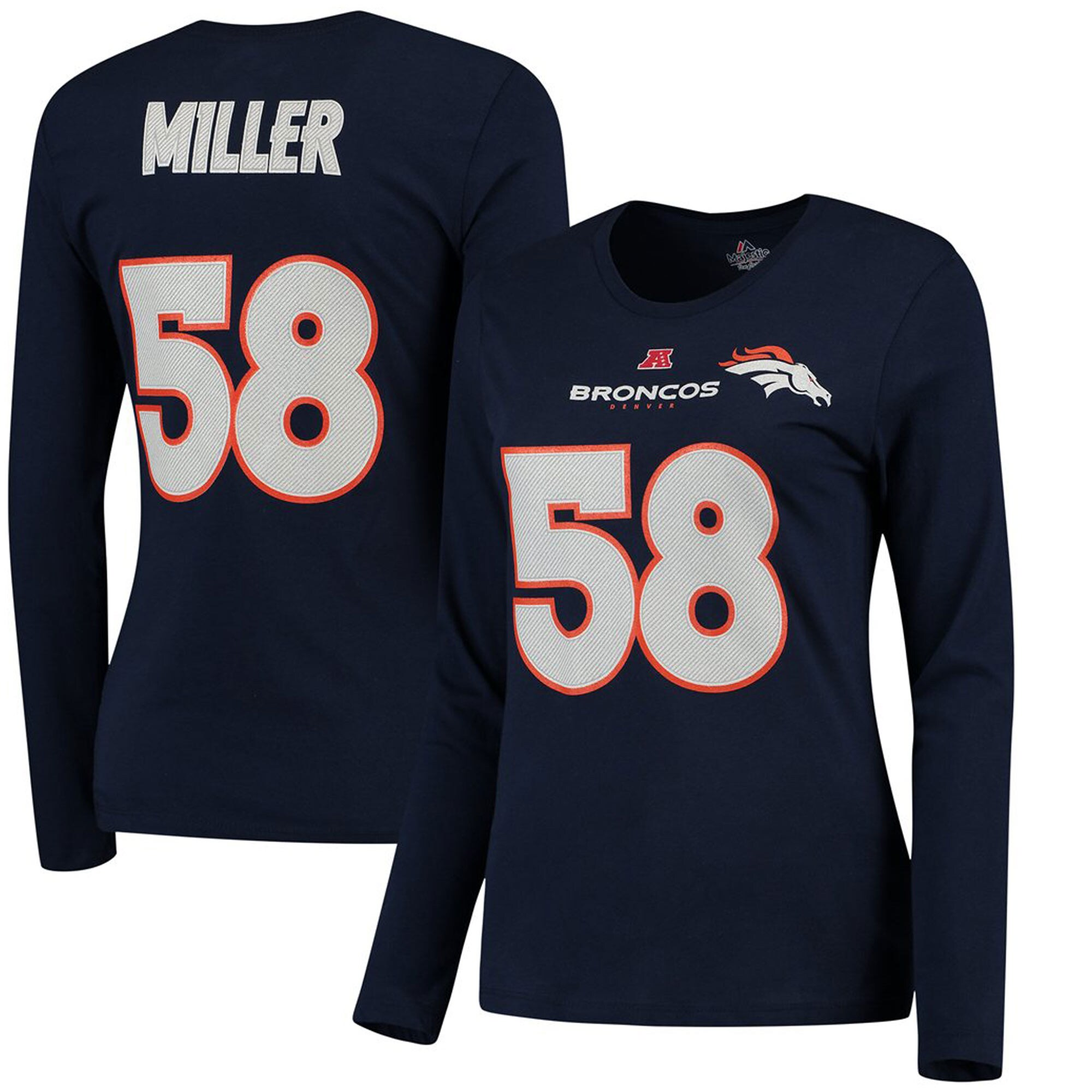 Von Miller Denver Broncos Majestic Women's Fair Catch V Name & Number Long Sleeve T-Shirt - Navy