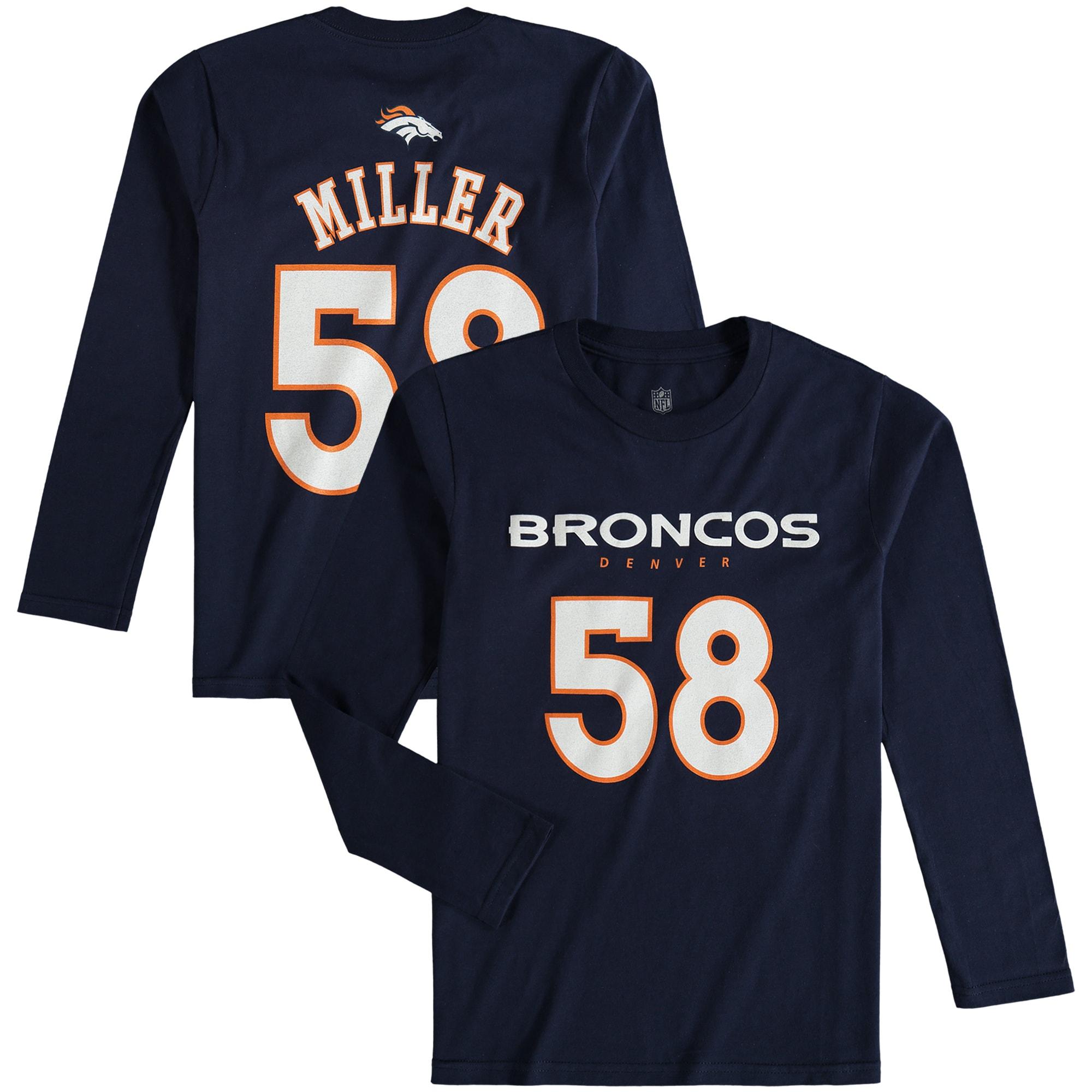 Von Miller Denver Broncos Youth Mainliner Name & Number Long Sleeve T-Shirt - Navy