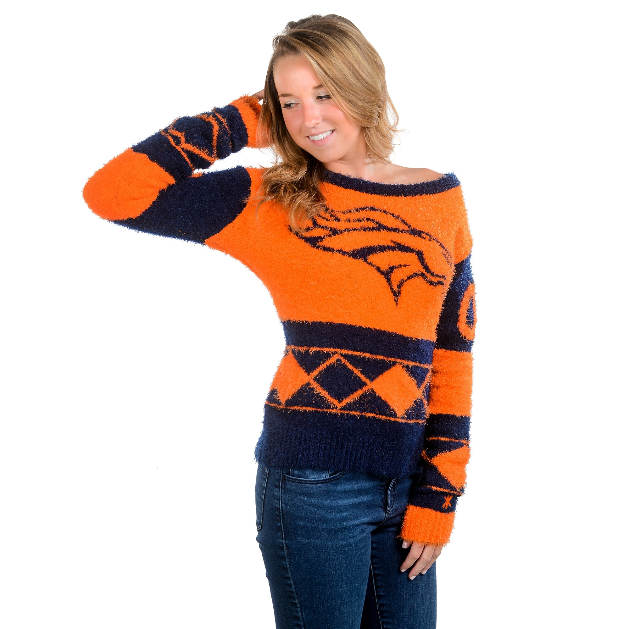 Denver Broncos Klew Women's Eyelash Crew Ugly Sweater - Navy Blue