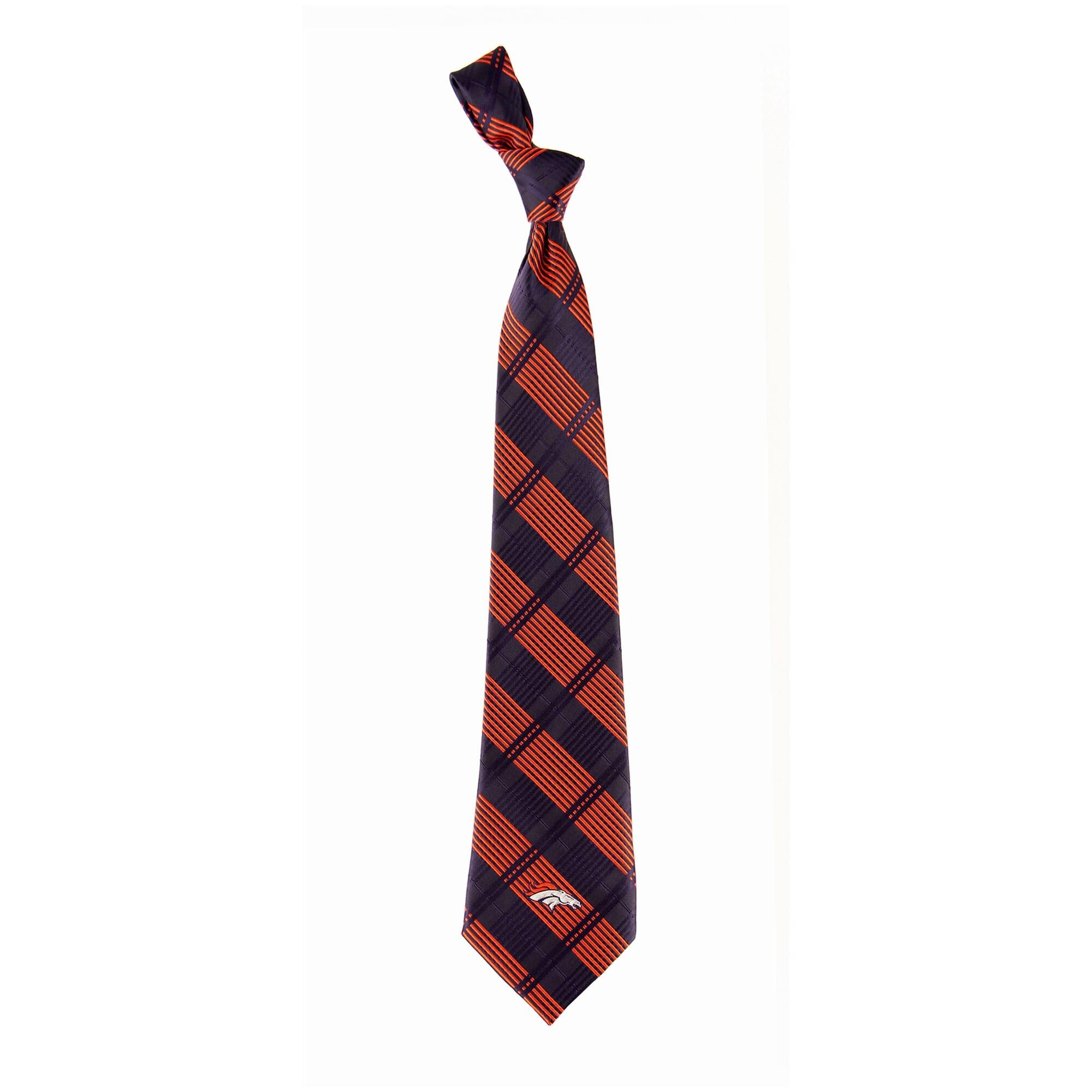 Denver Broncos Skinny Plaid Tie