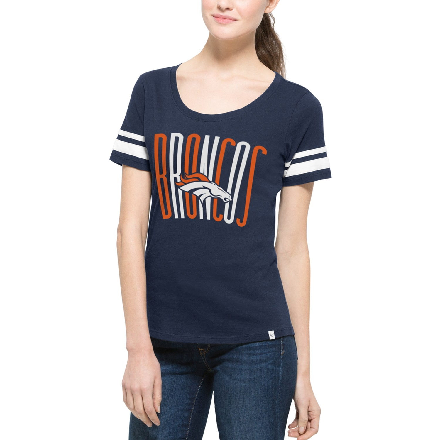 Denver Broncos '47 Brand Women's Halfback Scoop T-Shirt - Navy
